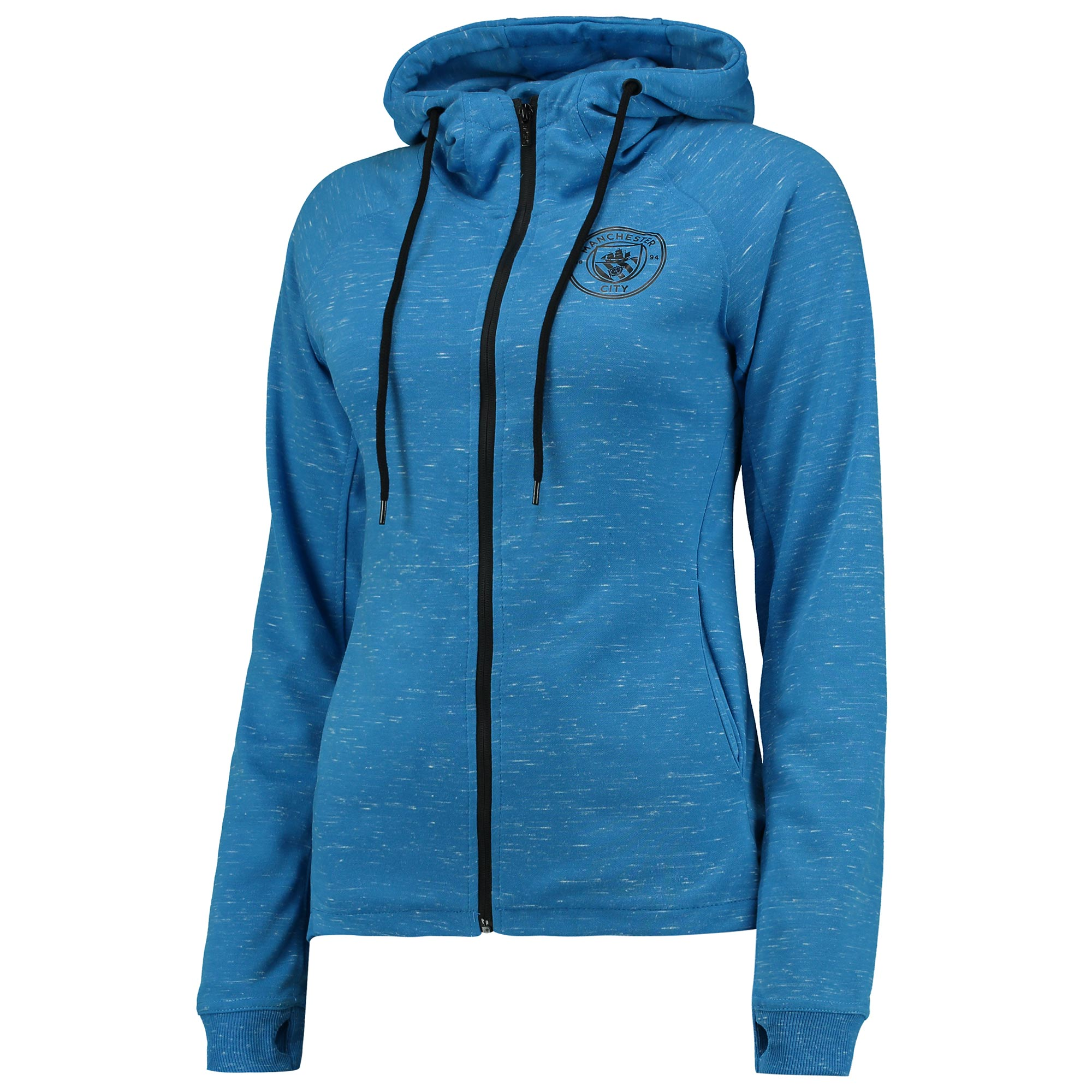 Manchester City Sport Hoodie - Blue/Black Marl - Womens