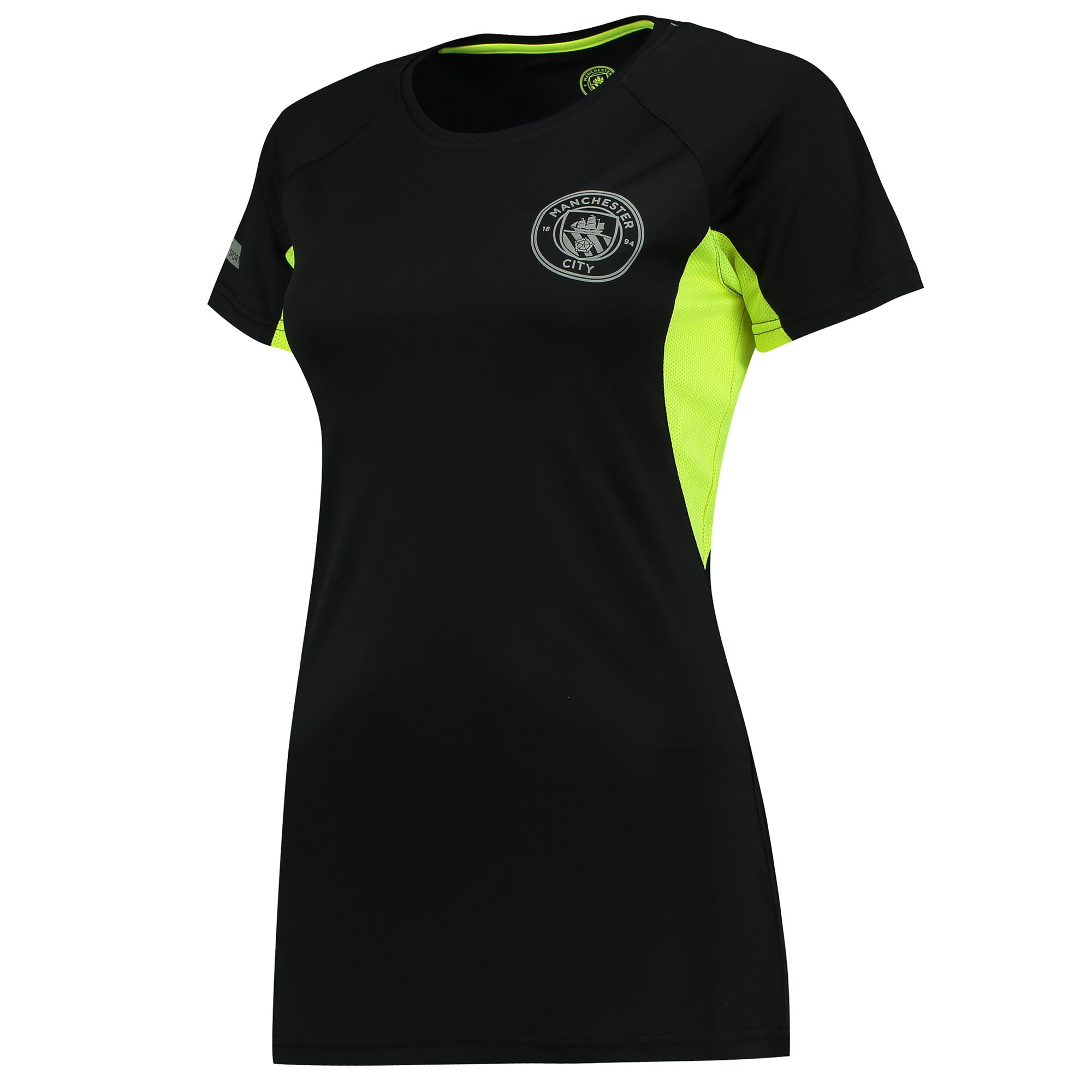Manchester City Sport Poly T-Shirt - Black/Neon - Womens