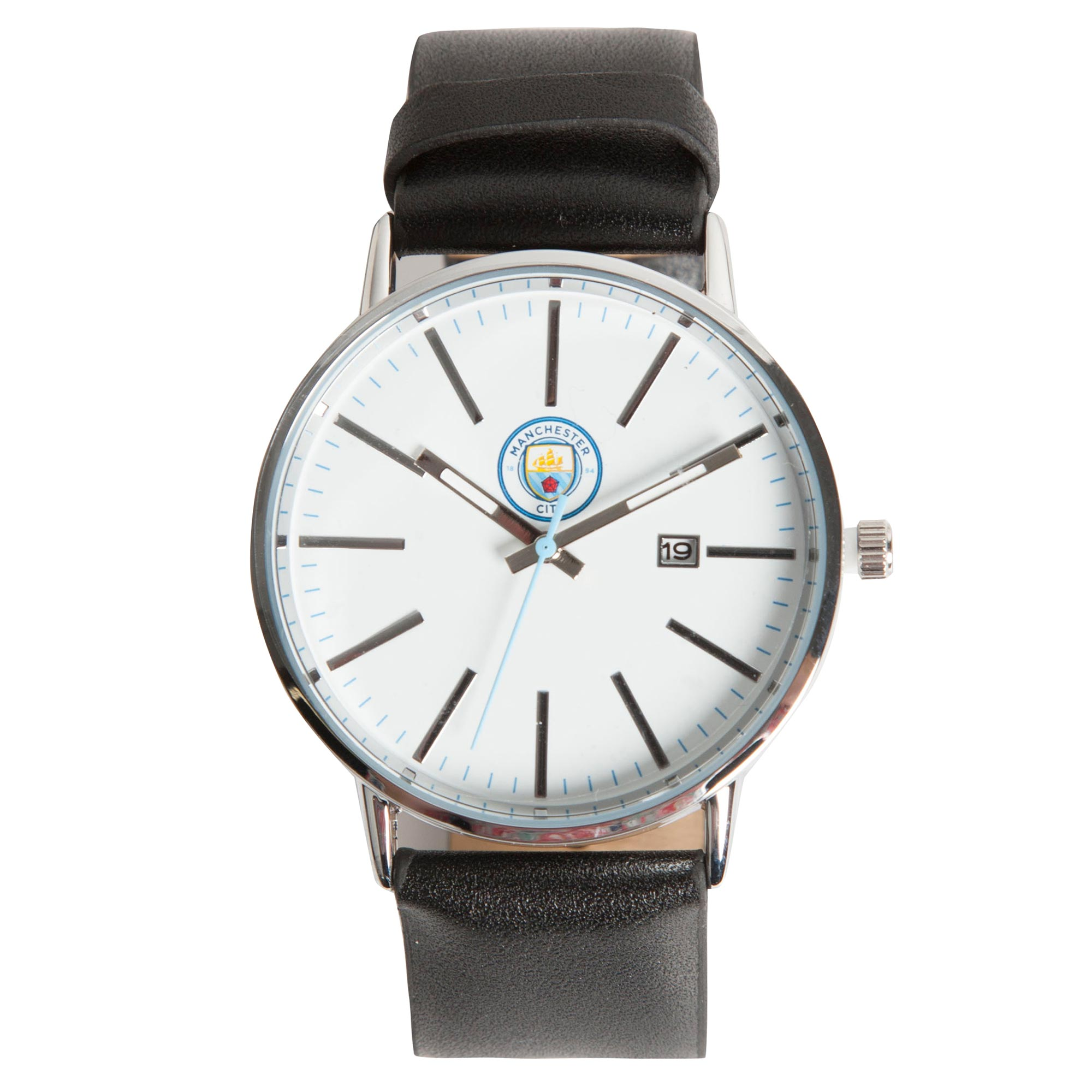 Manchester City Modern Metal Leather Strap Watch