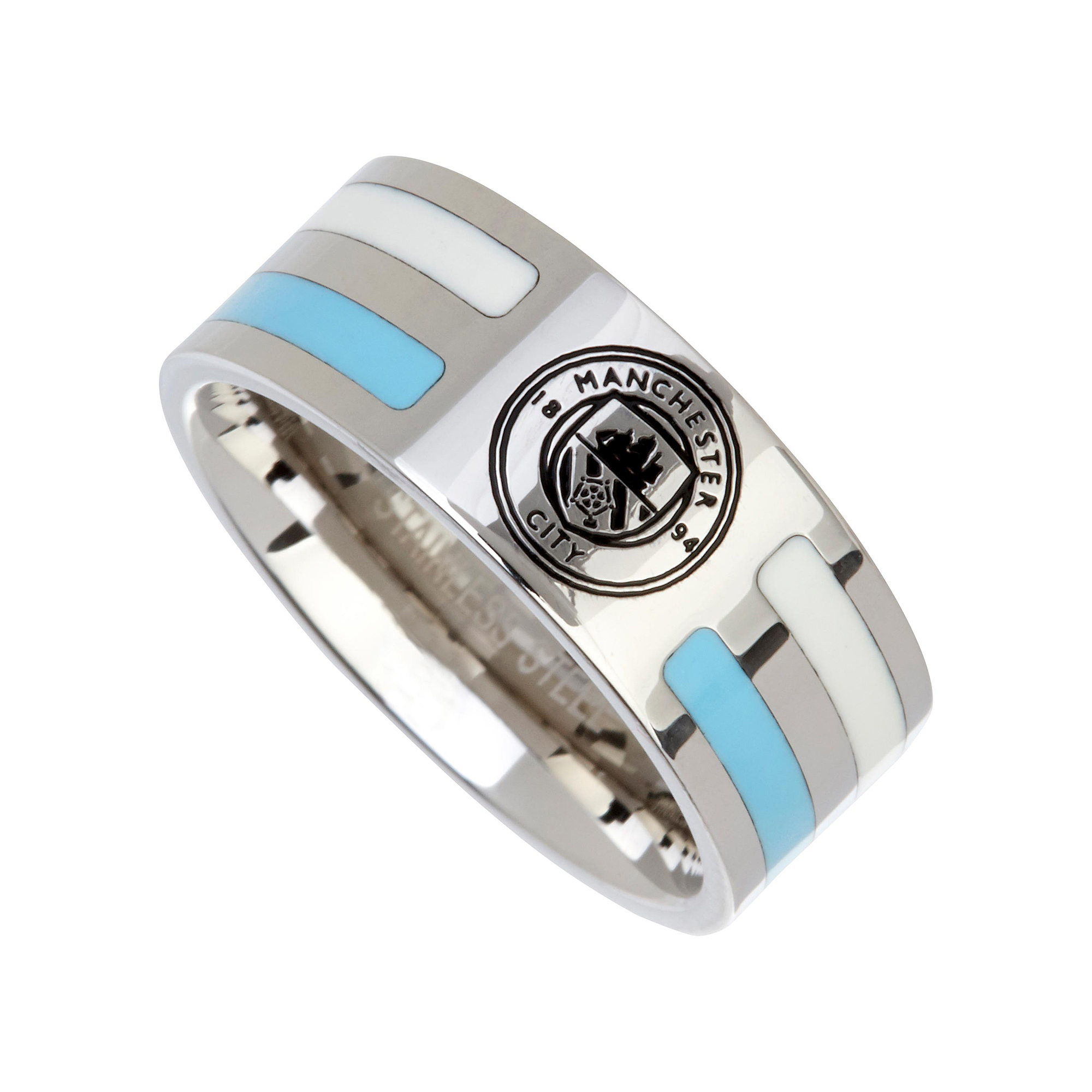 Manchester City Colour Stripe Crest Ring