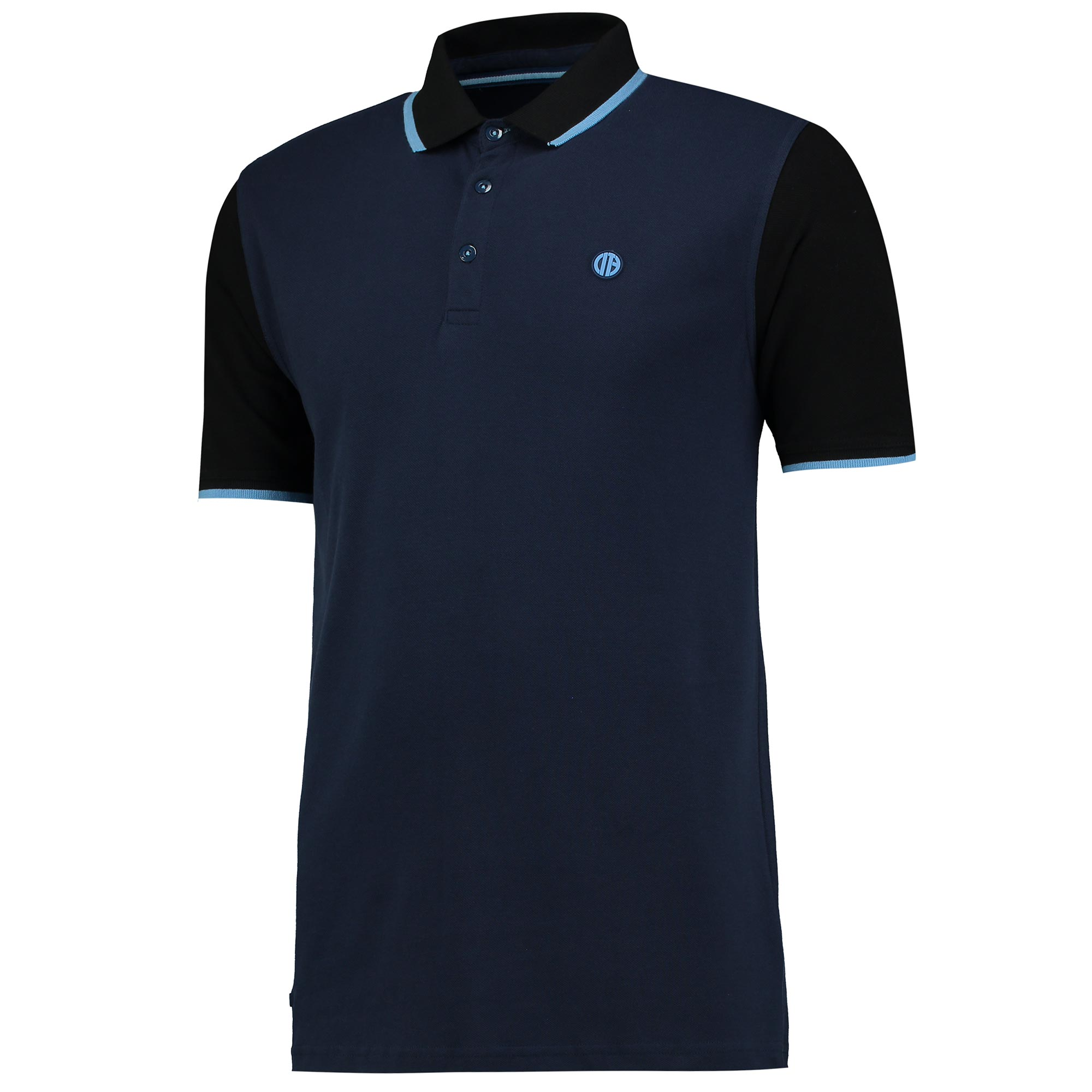 Manchester City Terrace Contrast Sleeve Polo - Navy/Charcoal