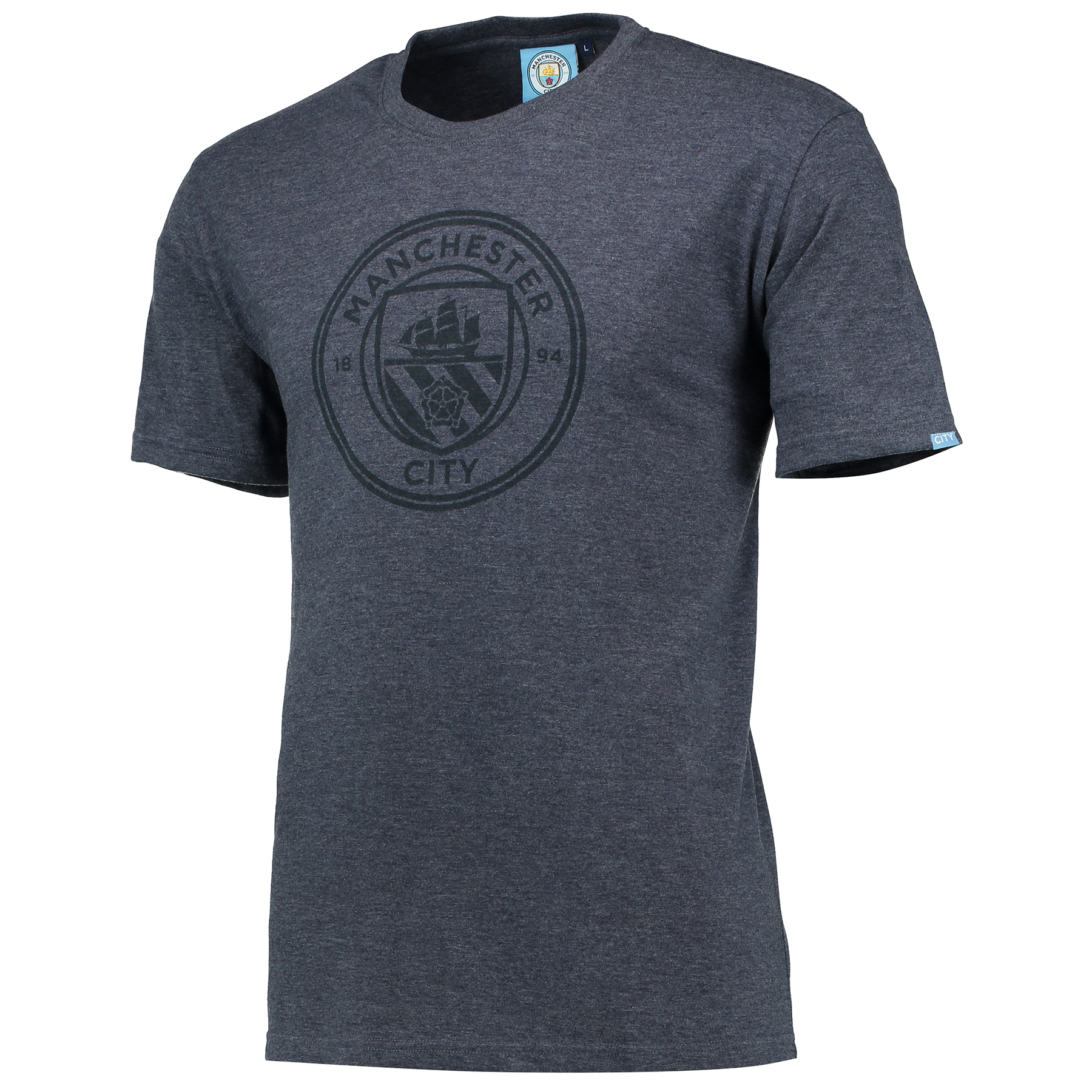 Manchester City Printed Crest T-Shirt - Navy Marl