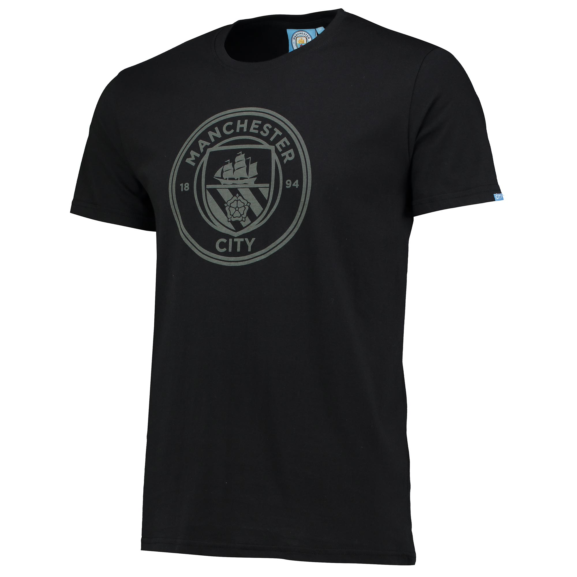 Manchester City Printed Crest T-Shirt - Barely Black