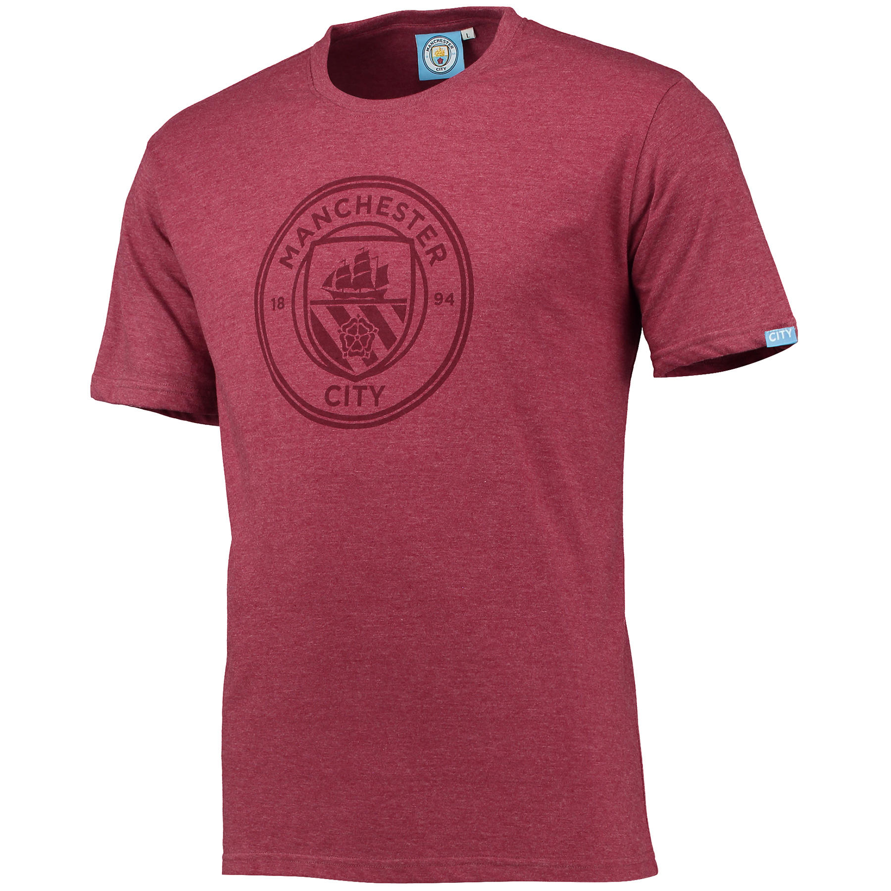 Manchester City Printed Crest T-Shirt - Maroon Marl