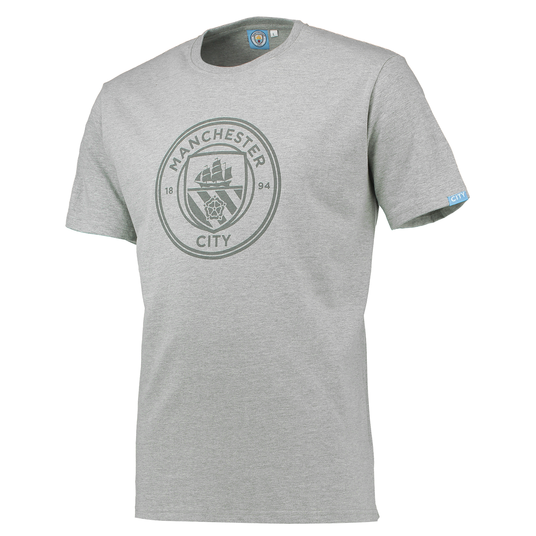 Manchester City Printed Crest T-Shirt - Grey Marl