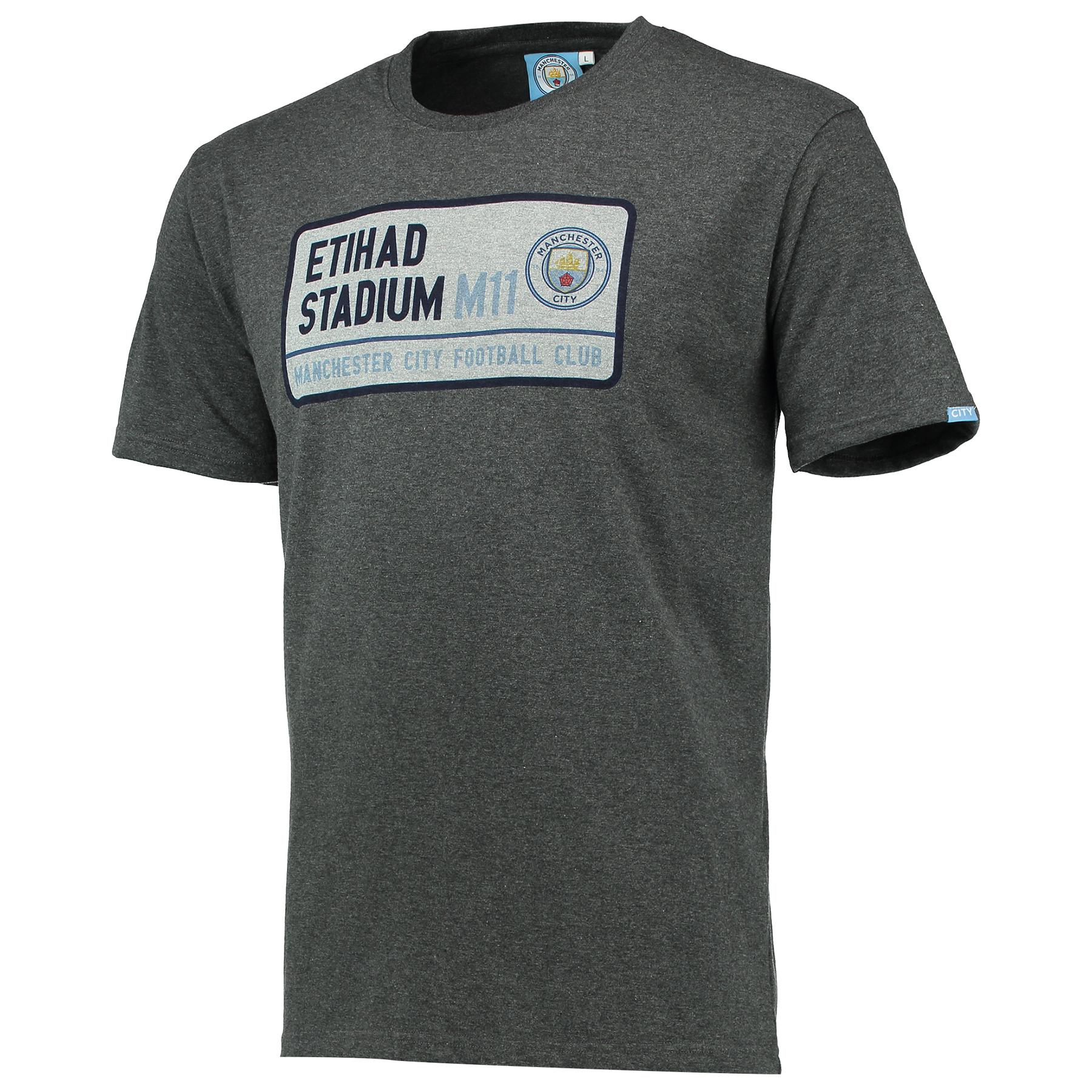 Manchester City Street Sign T-Shirt - Grey Marl