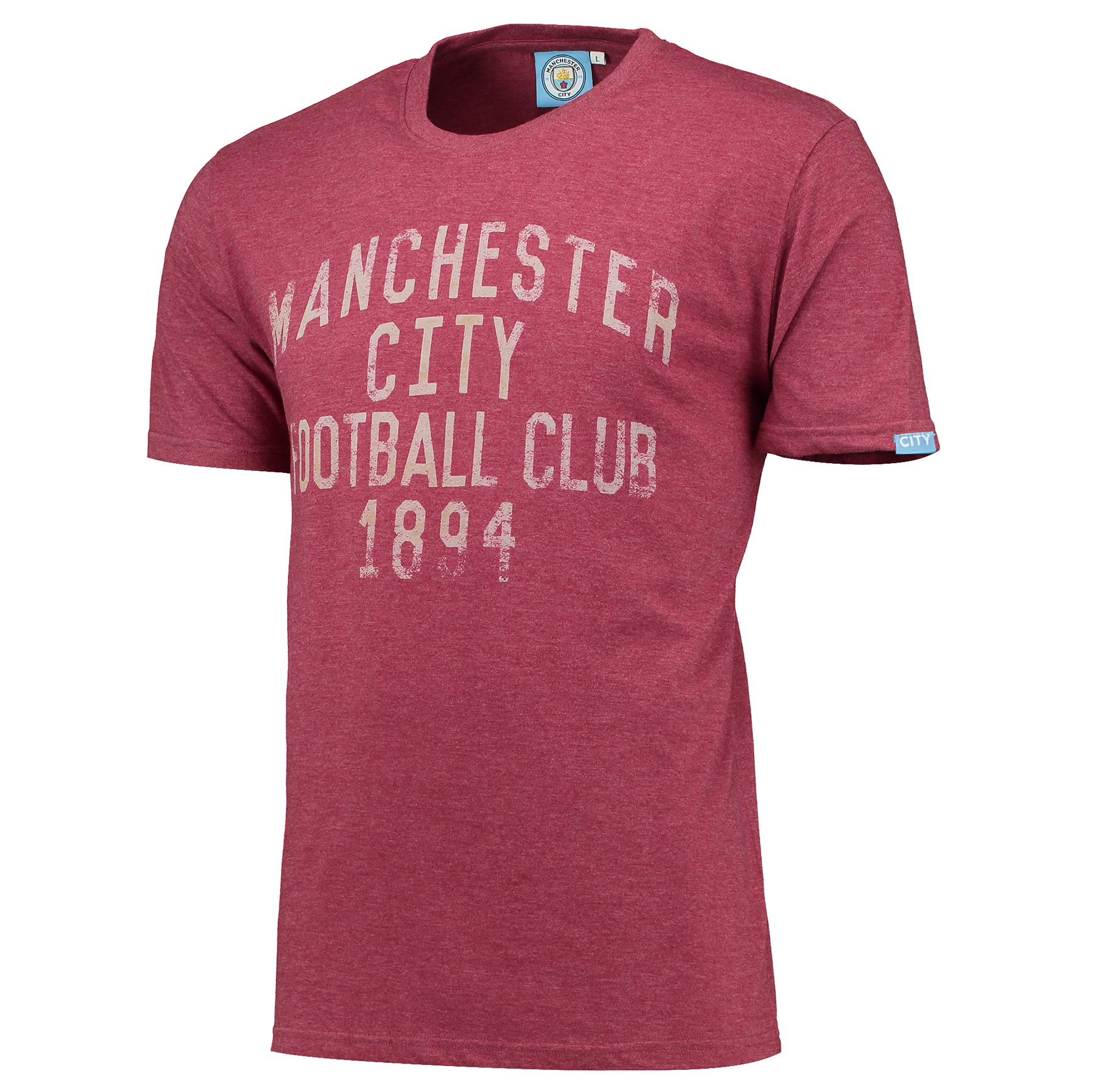 Manchester City Text T-Shirt - Maroon Marl