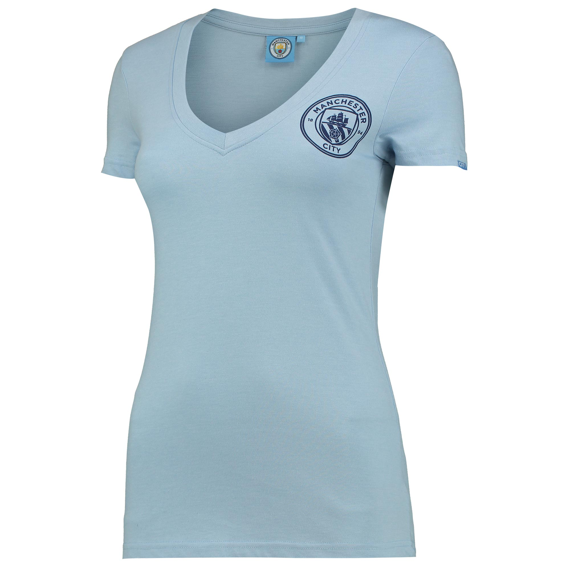 Manchester City Printed Crest V-Neck T-Shirt - Sky Marl - Womens