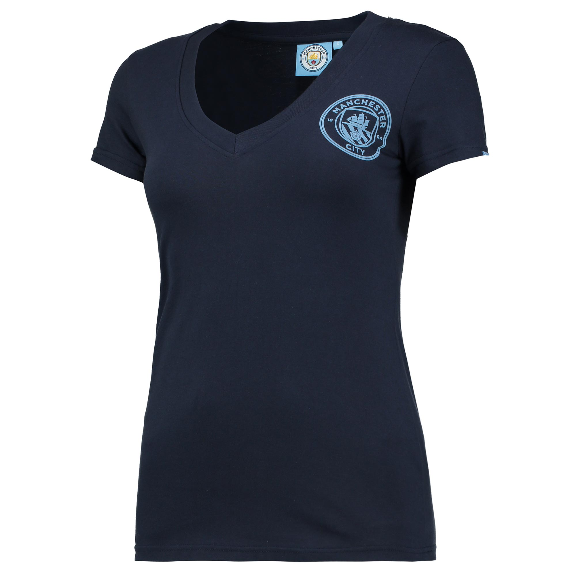 Manchester City Printed Crest V-Neck T-Shirt - Navy - Womens