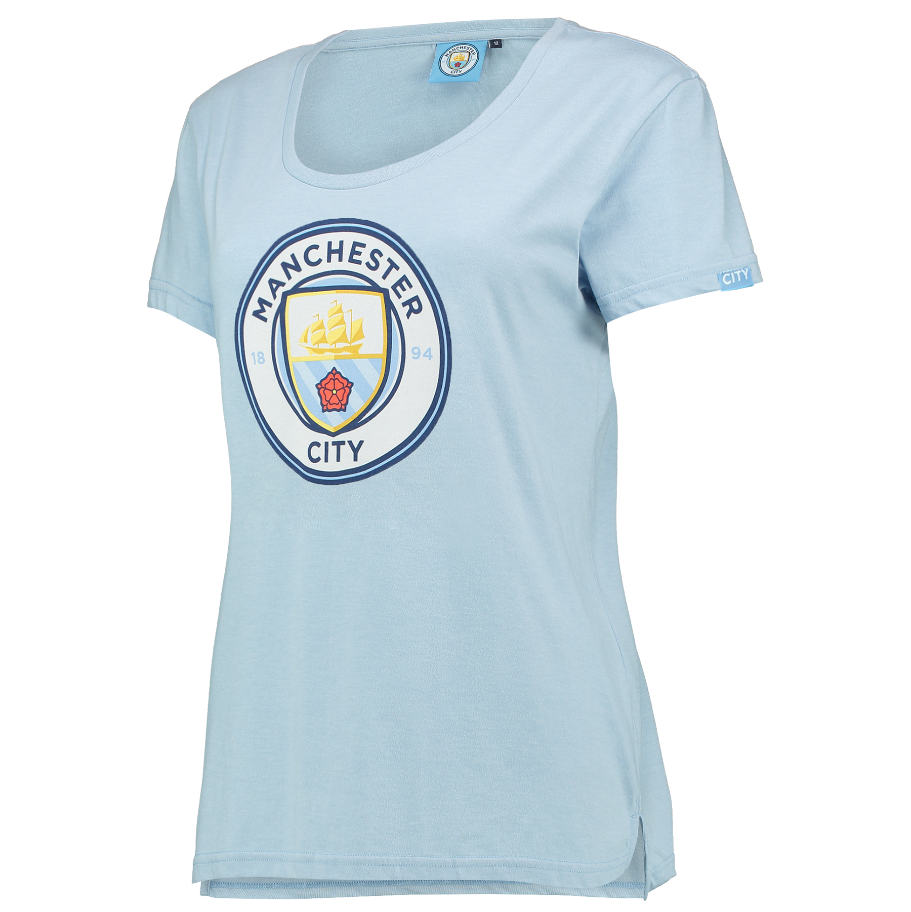 Manchester City Printed Crest T-Shirt - Sky Marl - Womens
