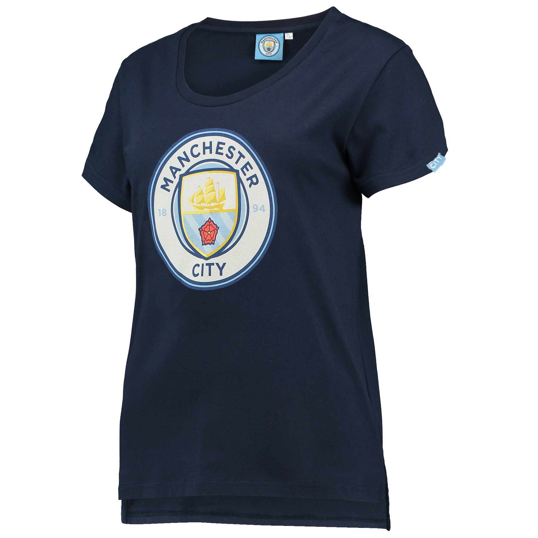 Manchester City Printed Crest T-Shirt - Navy - Womens