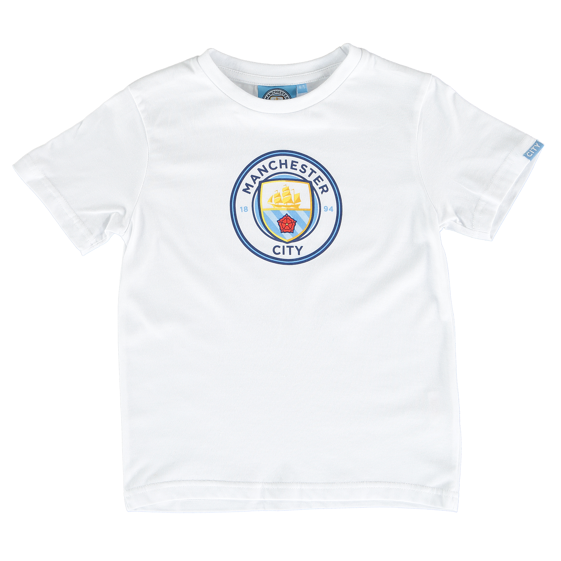 Manchester City Printed Crest T-Shirt - White - Junior