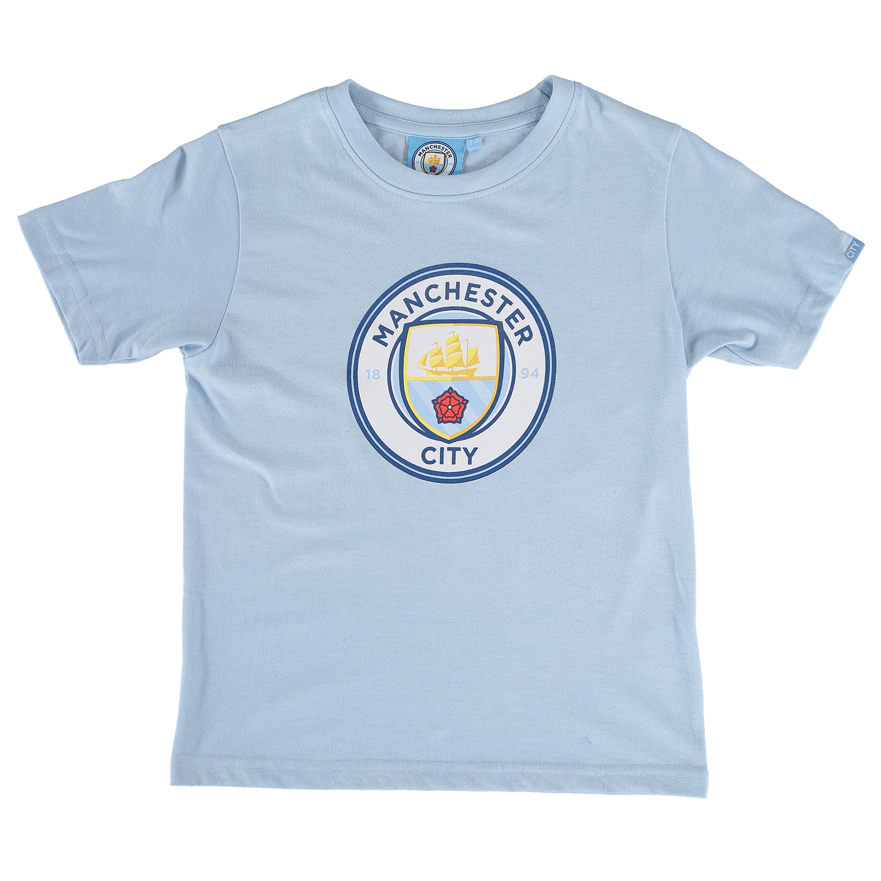 Manchester City Printed Crest T-Shirt - Sky Marl - Junior
