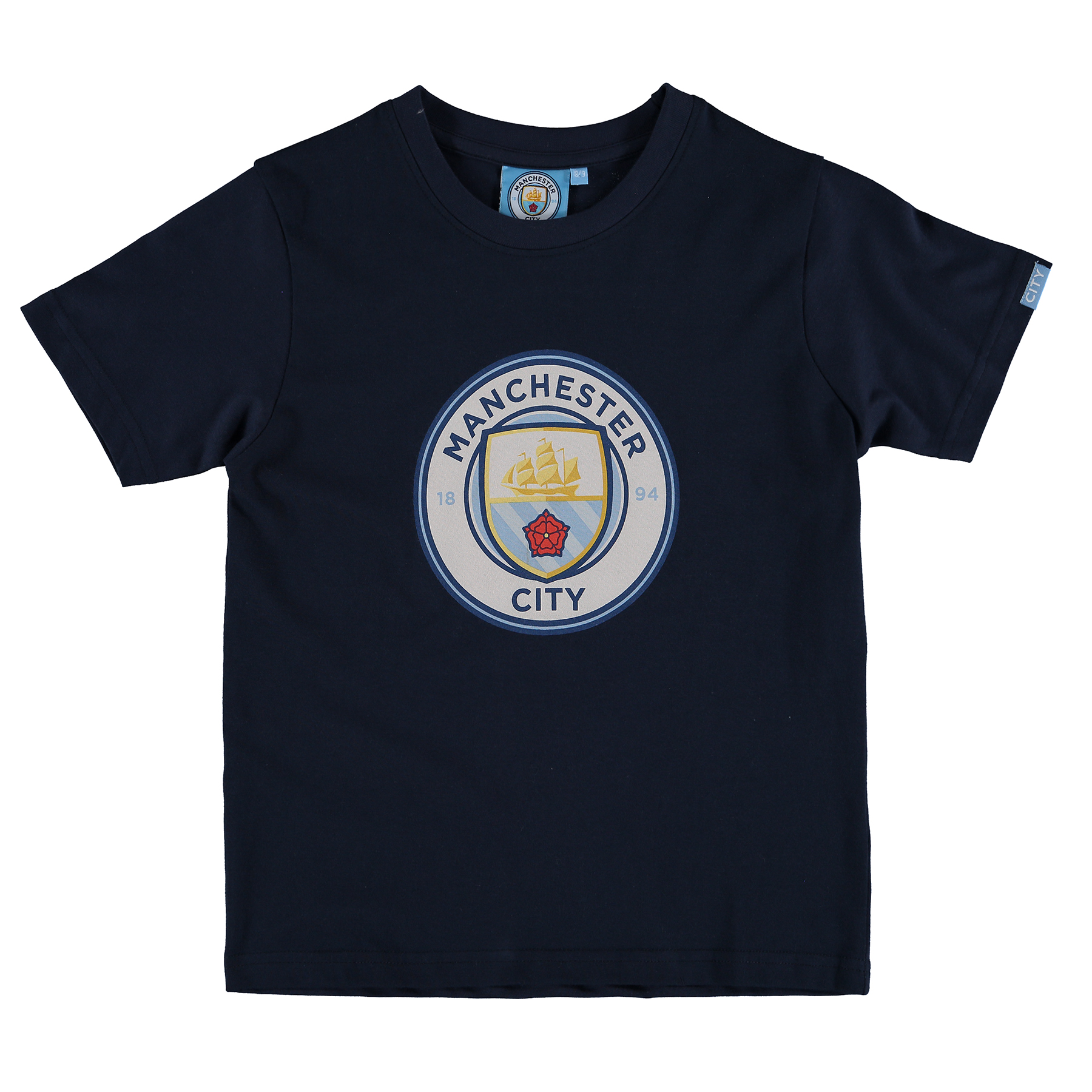 Manchester City Printed Crest T-Shirt - Navy - Junior