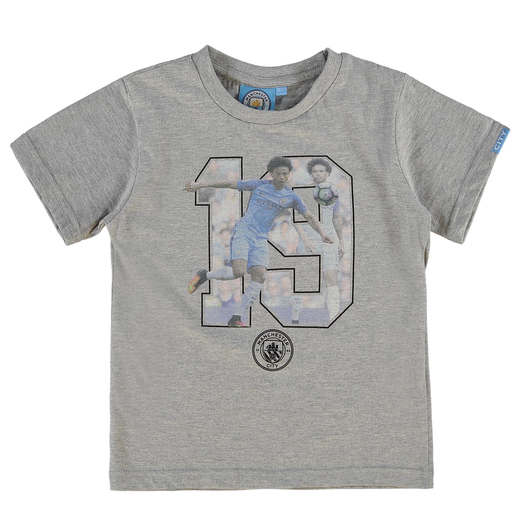 Manchester City Sane T-Shirt - Grey Marl - Junior