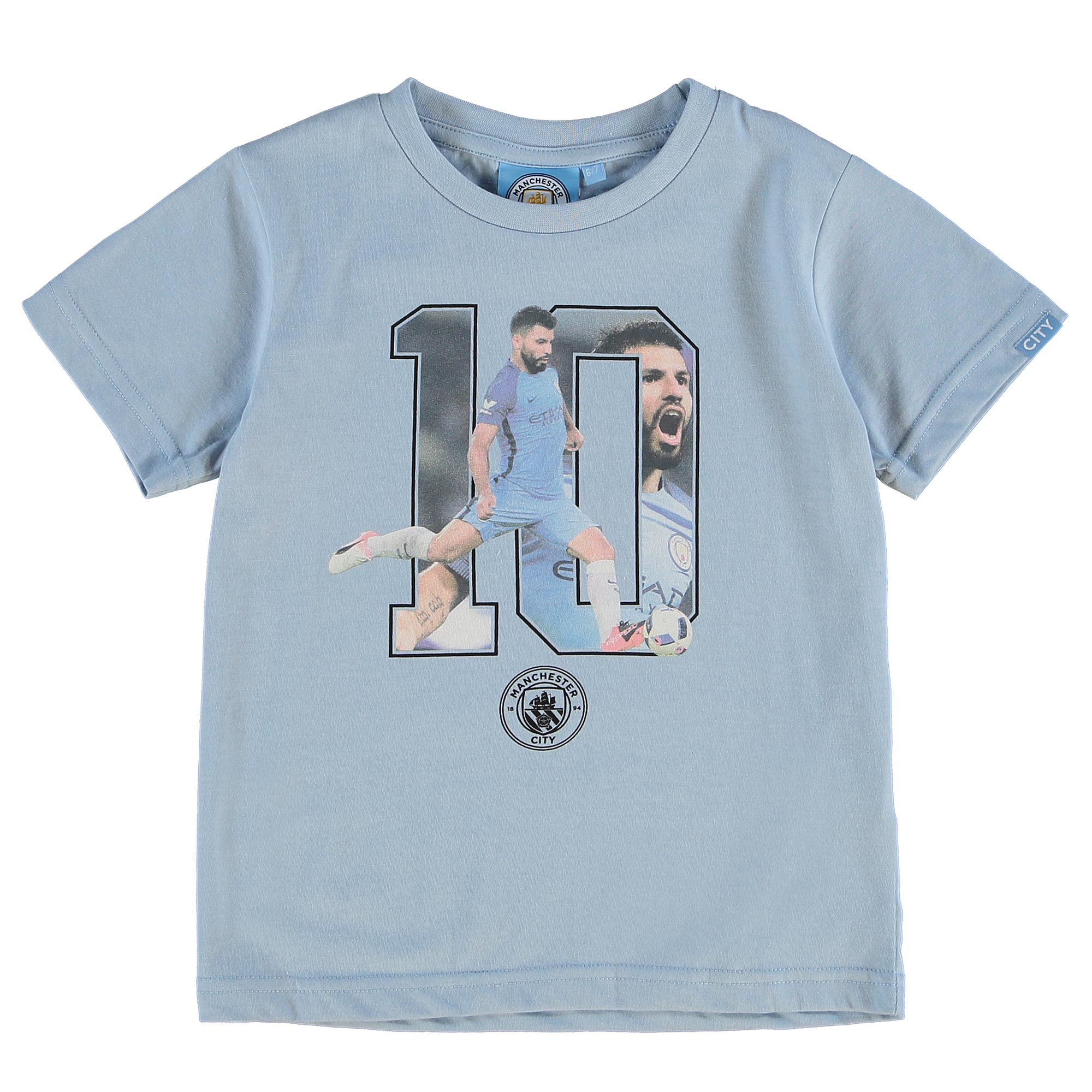 Manchester City Aguero T-Shirt - Sky Marl - Junior