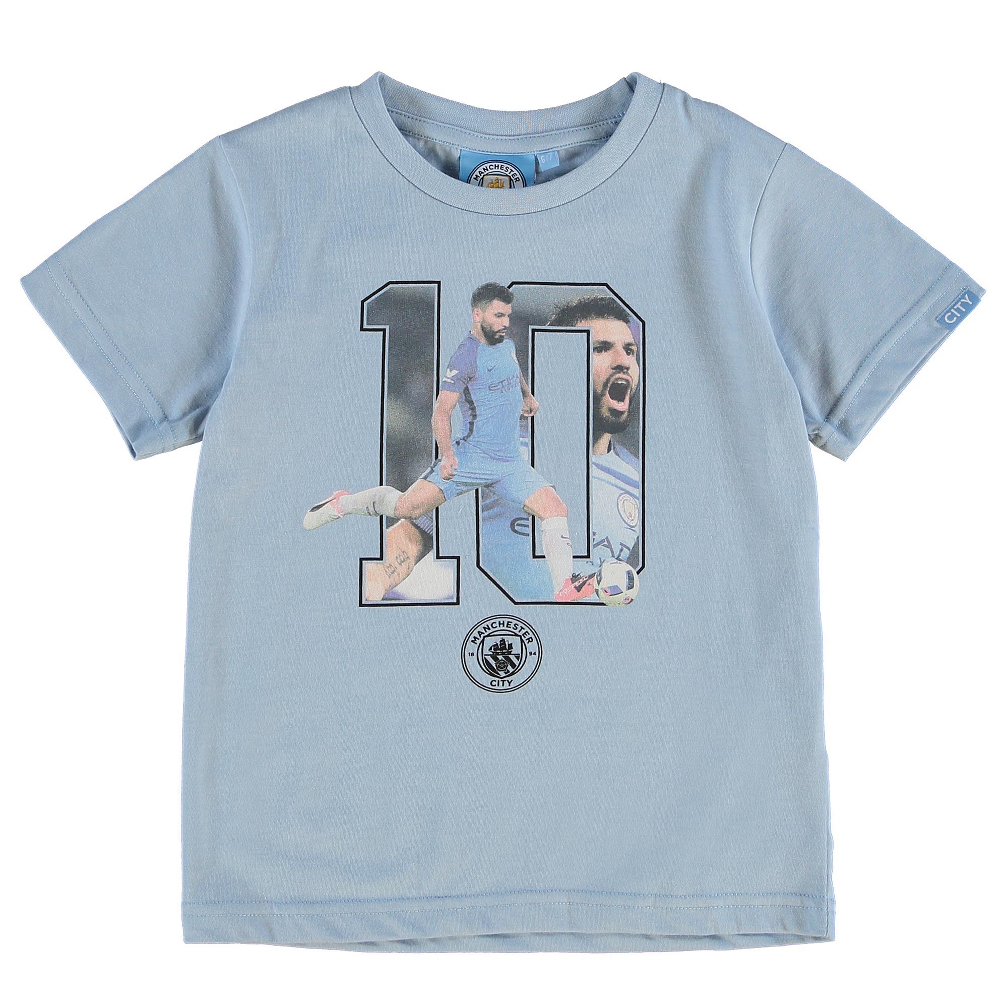 Manchester City Aguero T-Shirt - Sky Marl - Junior