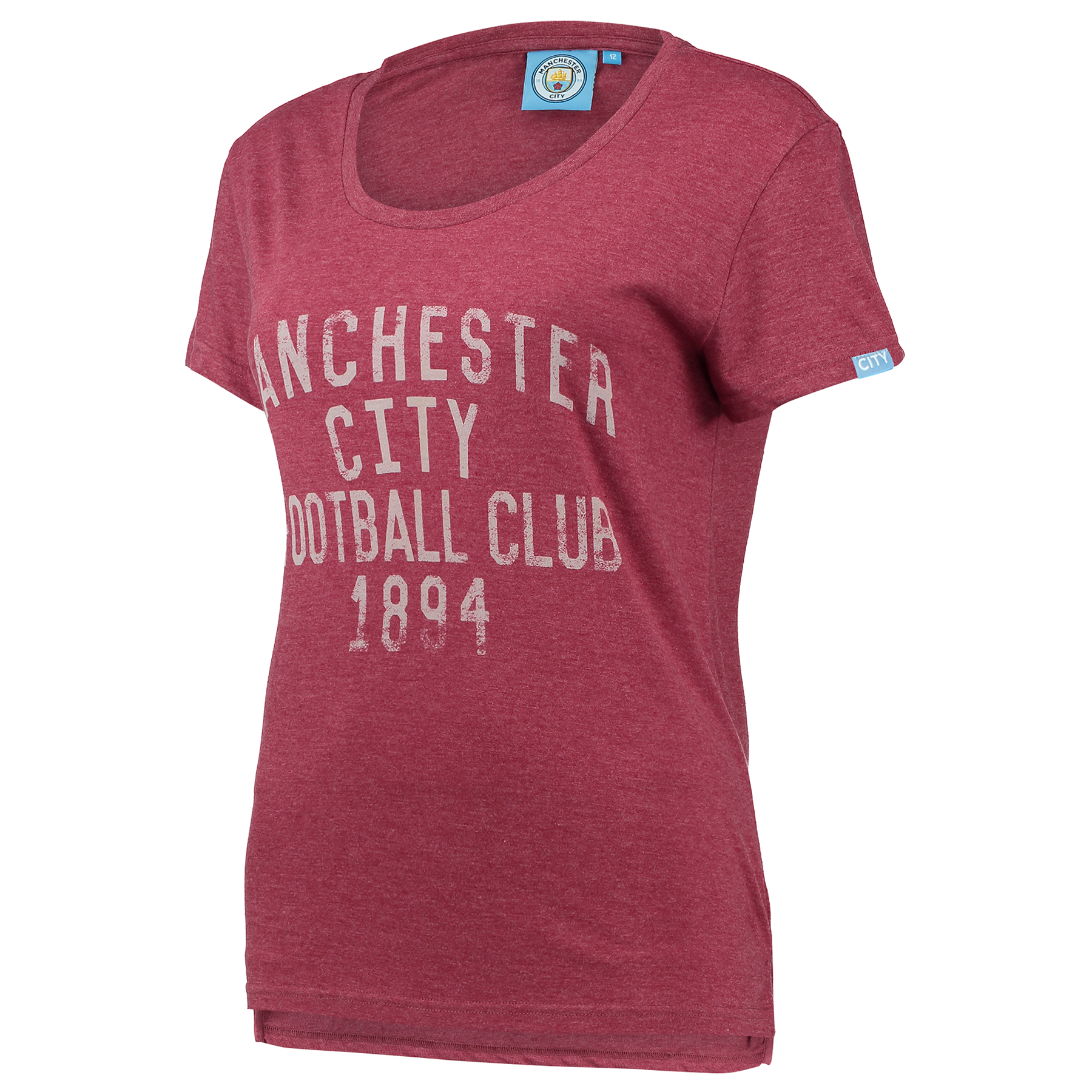 Manchester City Text T-Shirt - Maroon Marl - Womens