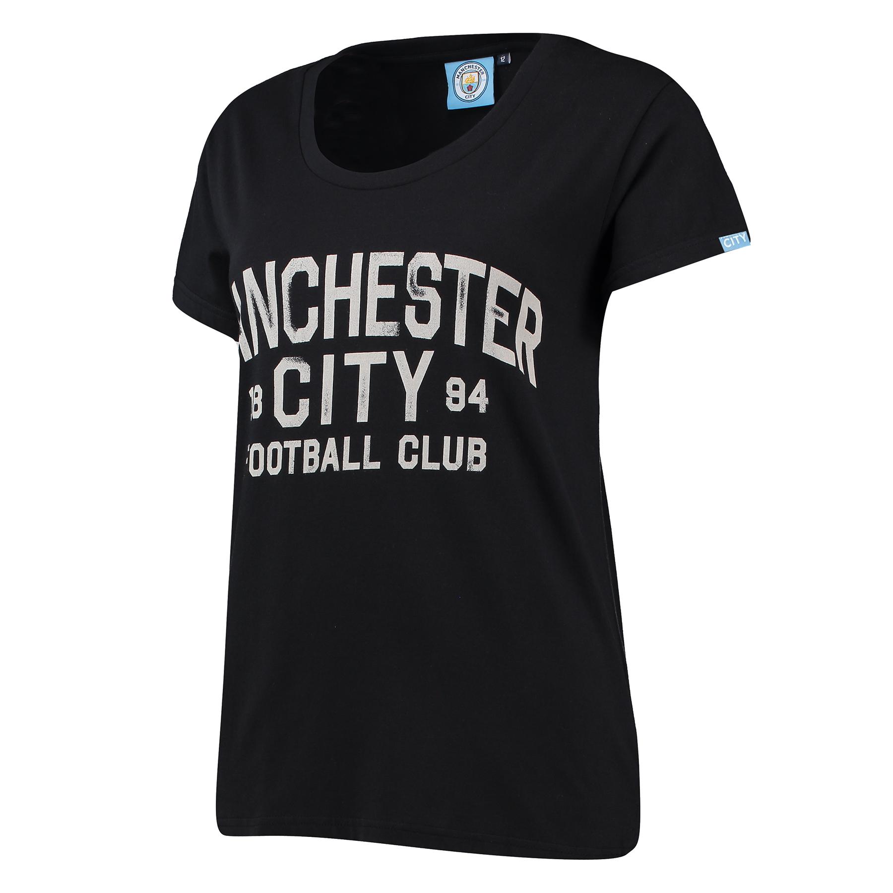 Manchester City Print T-Shirt - Black - Womens