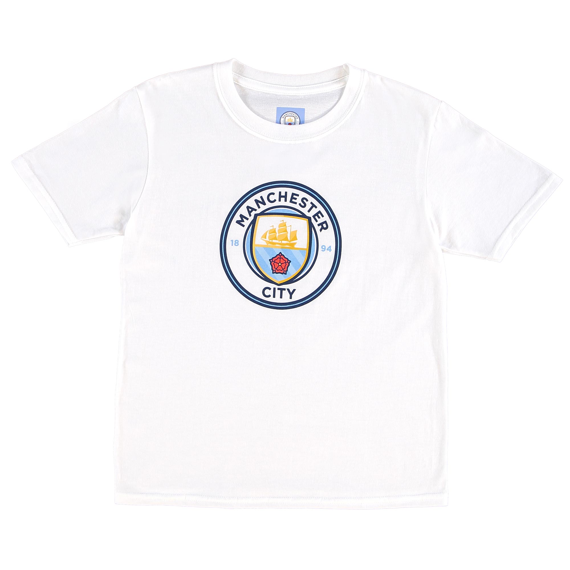 Manchester City Crest T-Shirt - White - Junior
