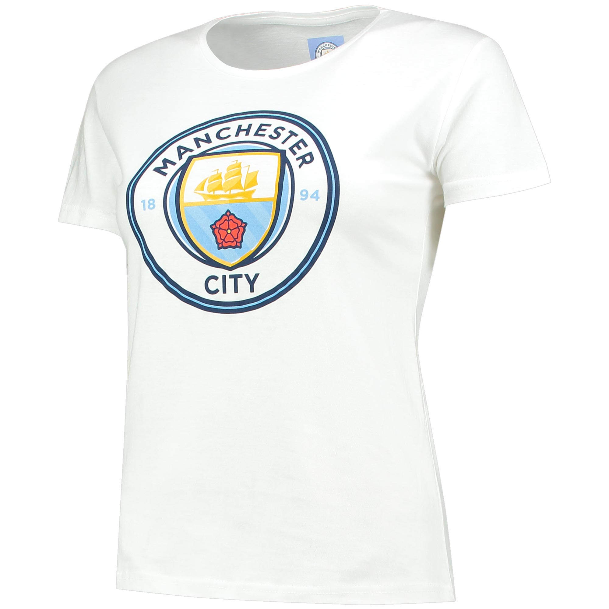 Manchester City Crest T-Shirt - White - Womens
