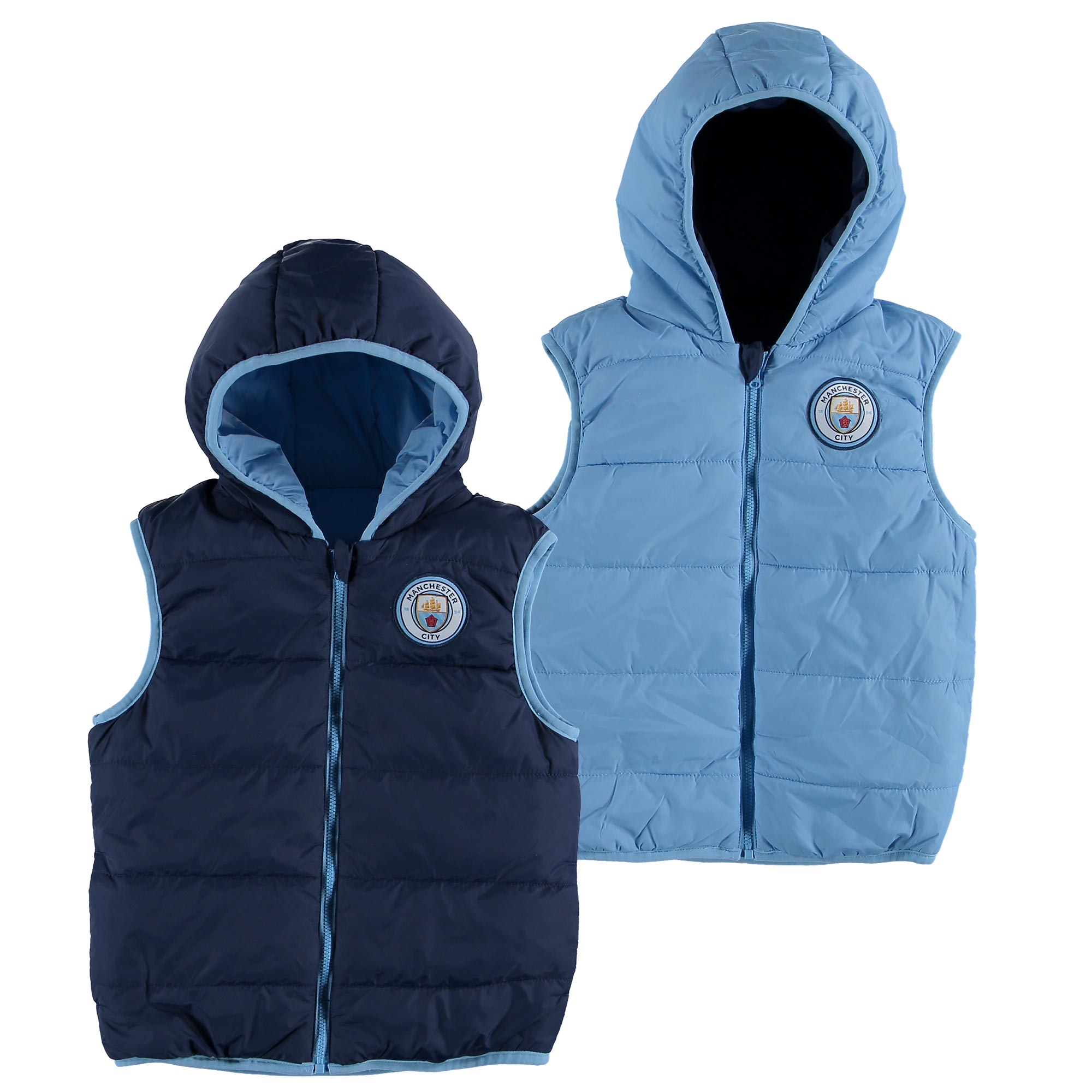Manchester City Reversible Gilet - Navy/Sky - Junior