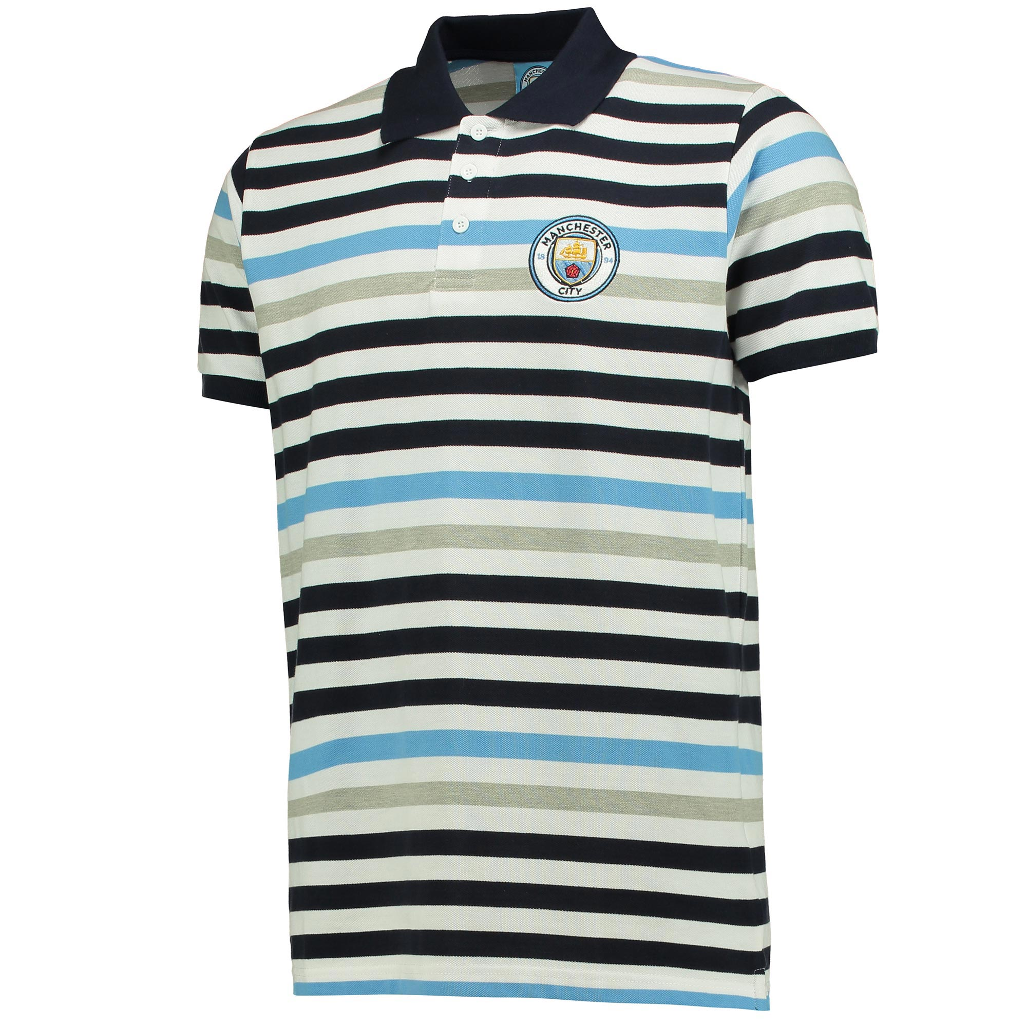 Manchester City Stripe Polo - White/Grey