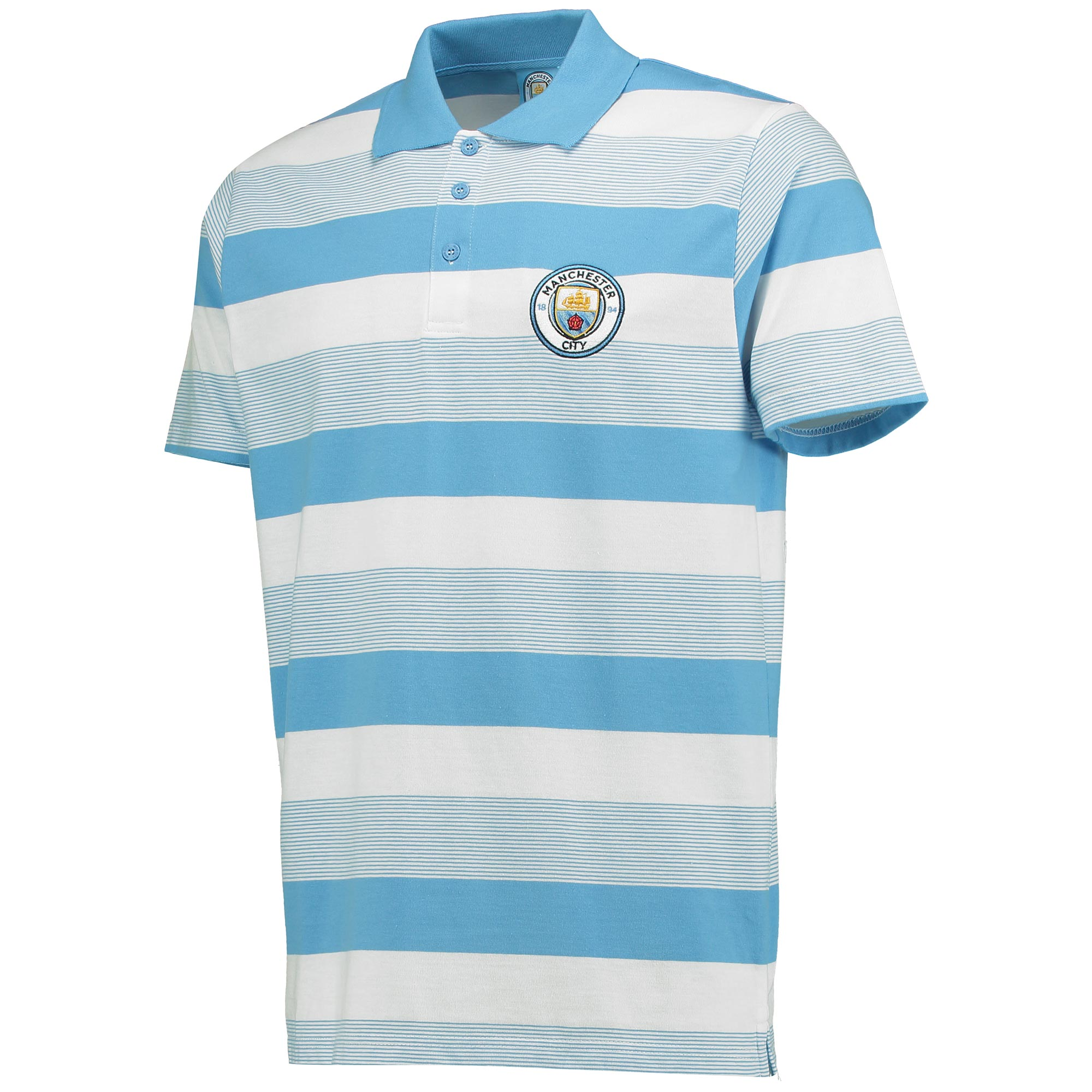 Manchester City Stripe Polo - Sky/White