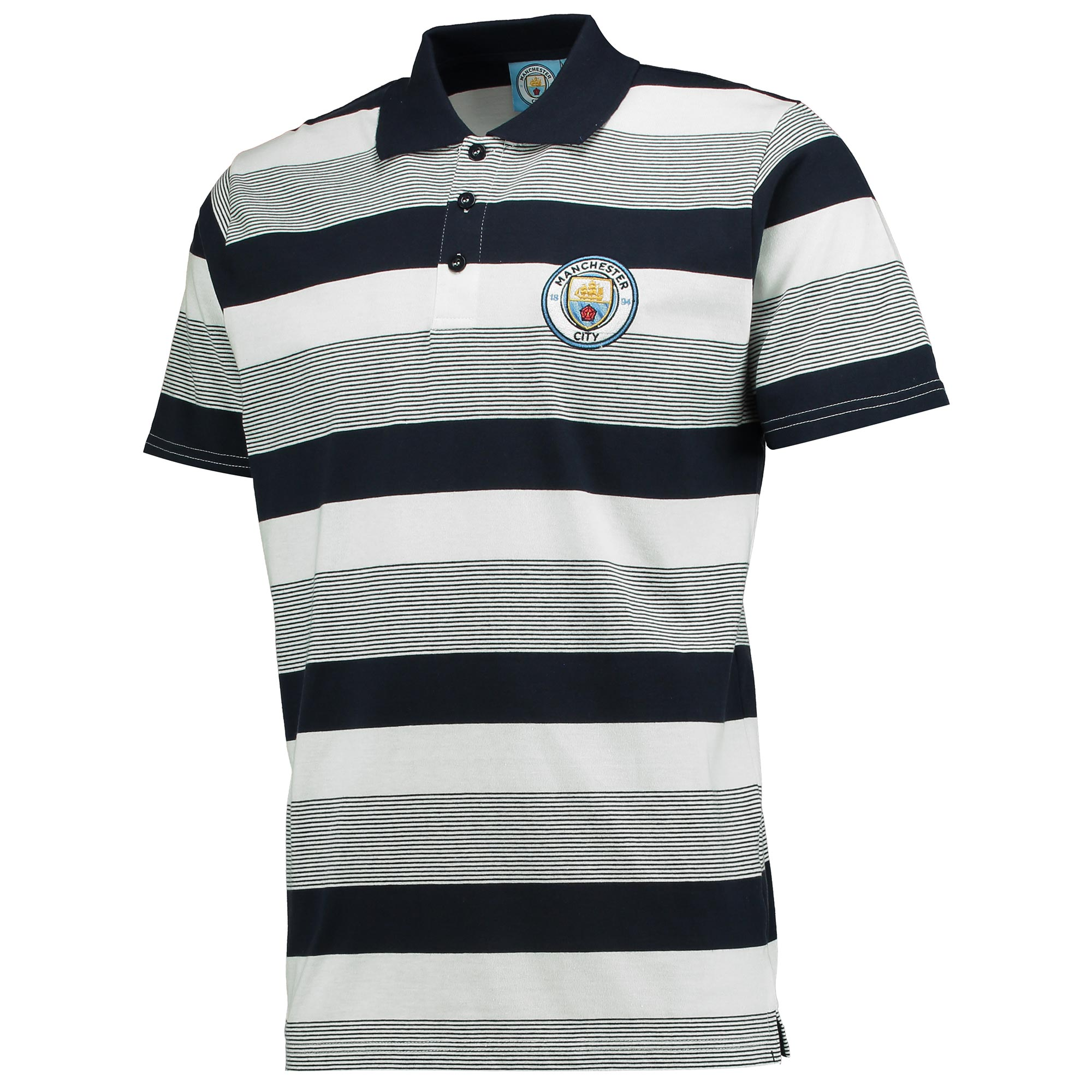 Manchester City Stripe Polo - Navy/White