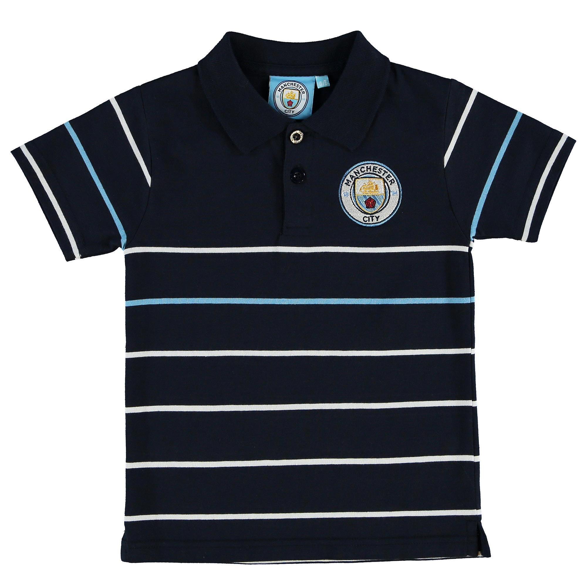Manchester City Stripe Polo - Navy - Junior