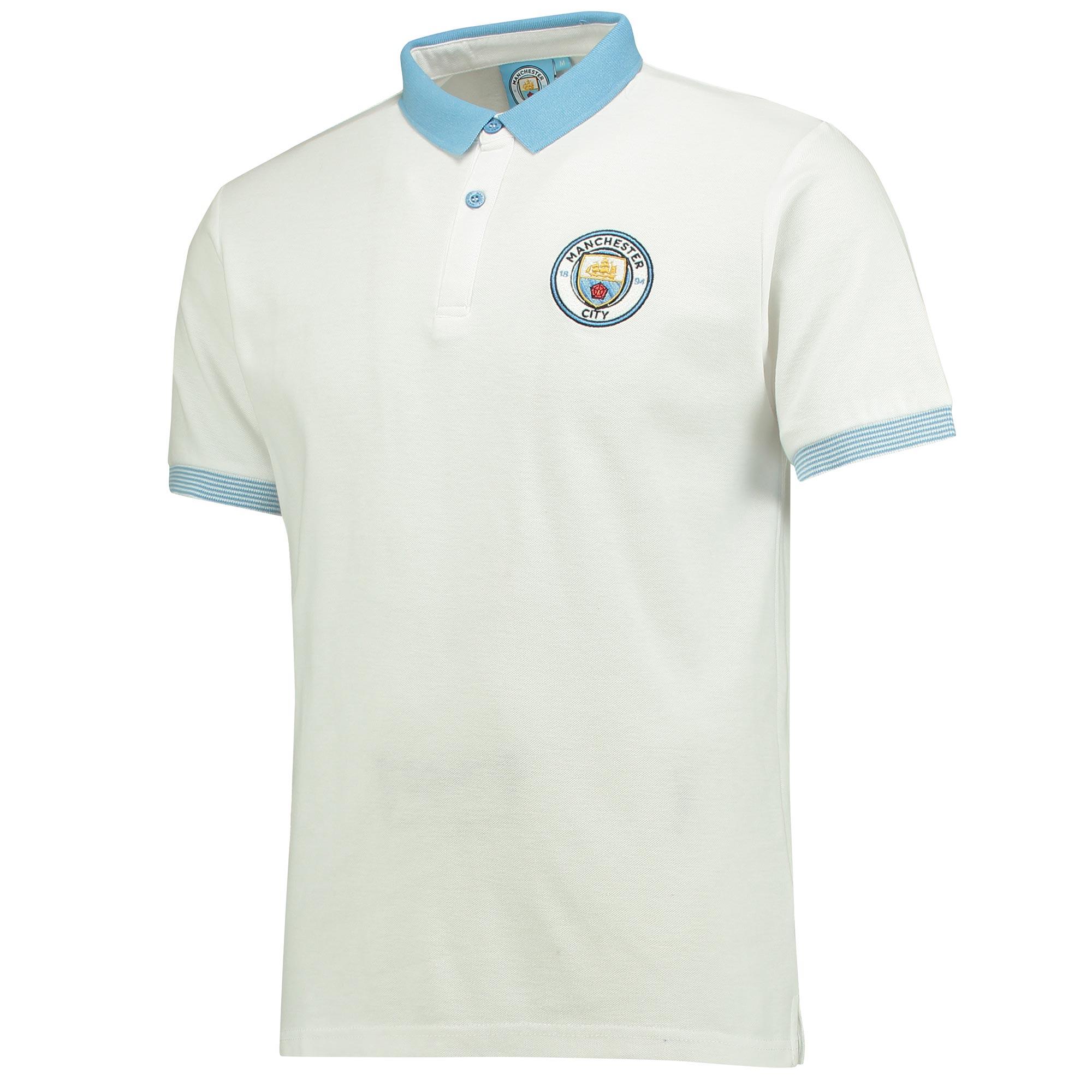 Manchester City Slim Fit Mini Collar Polo - White