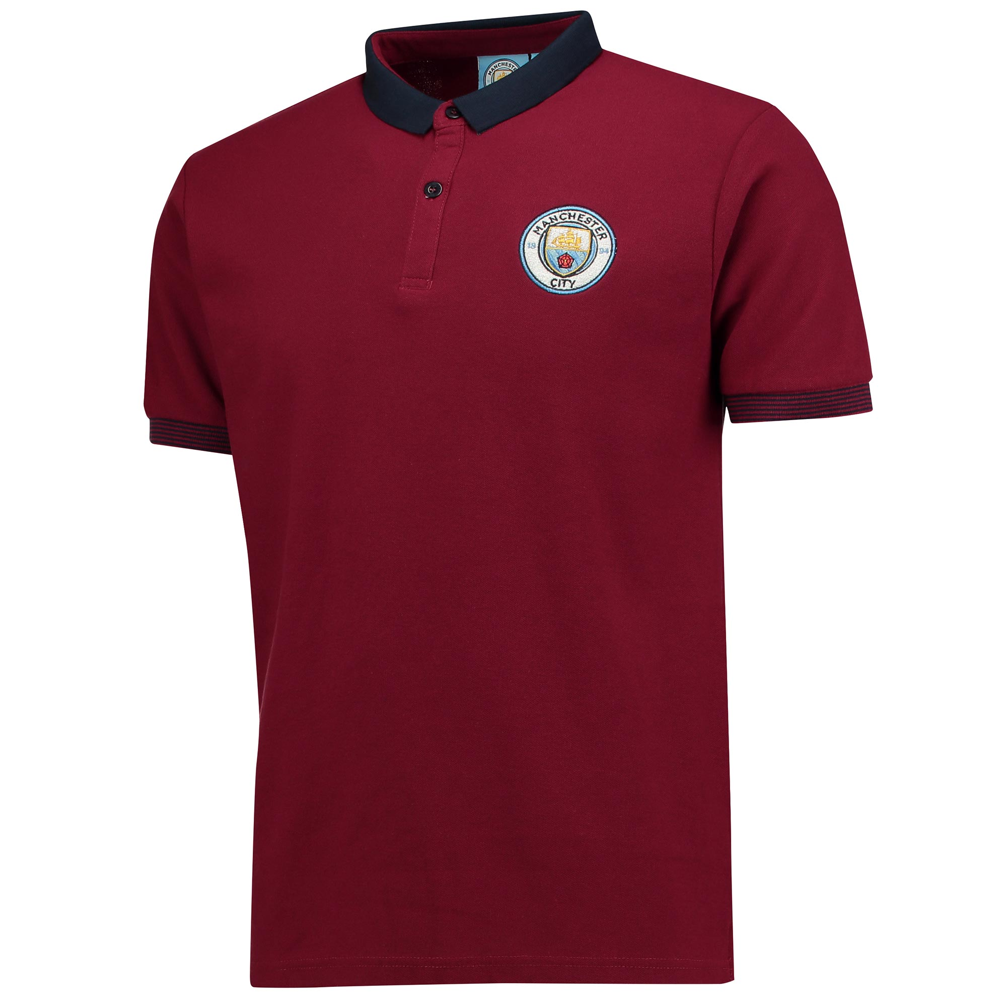Manchester City Slim Fit Mini Collar Polo - Maroon