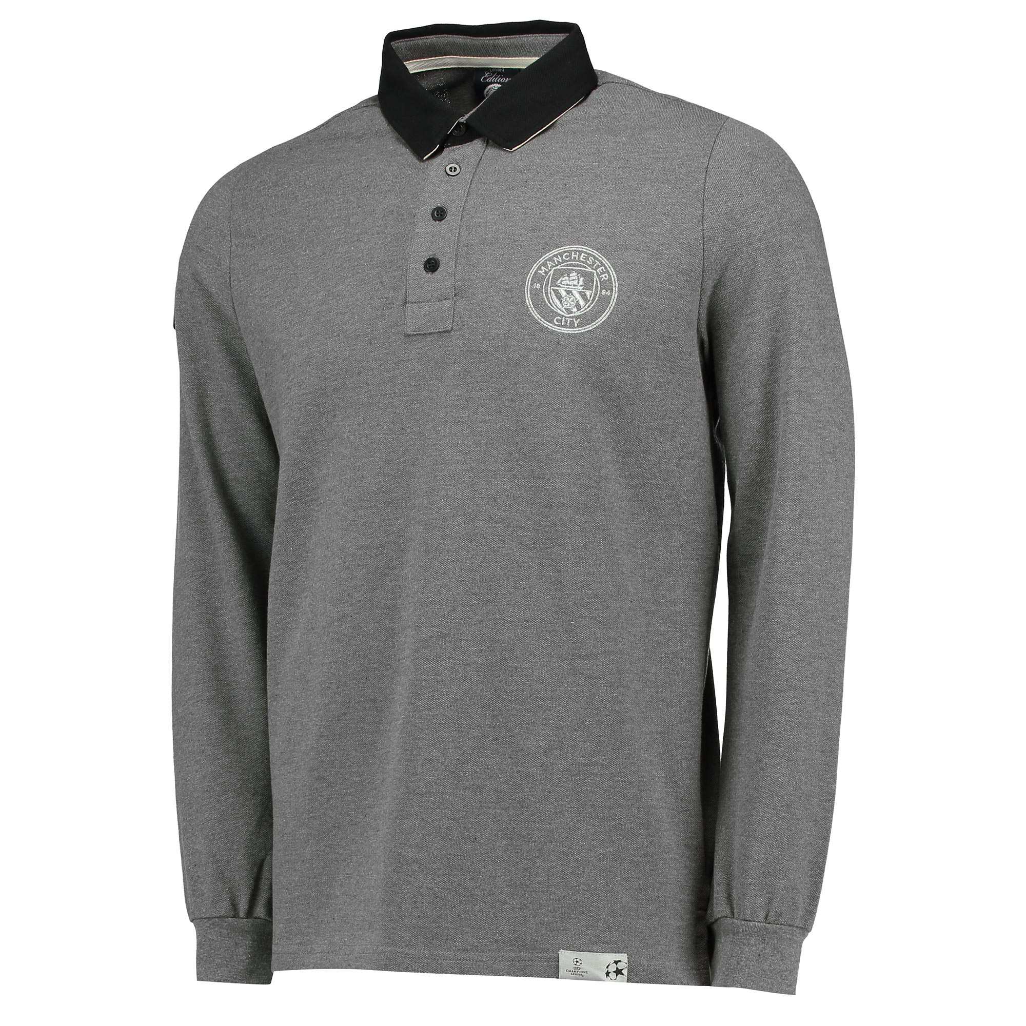 Manchester City UEFA Long Sleeve Polo - Grey