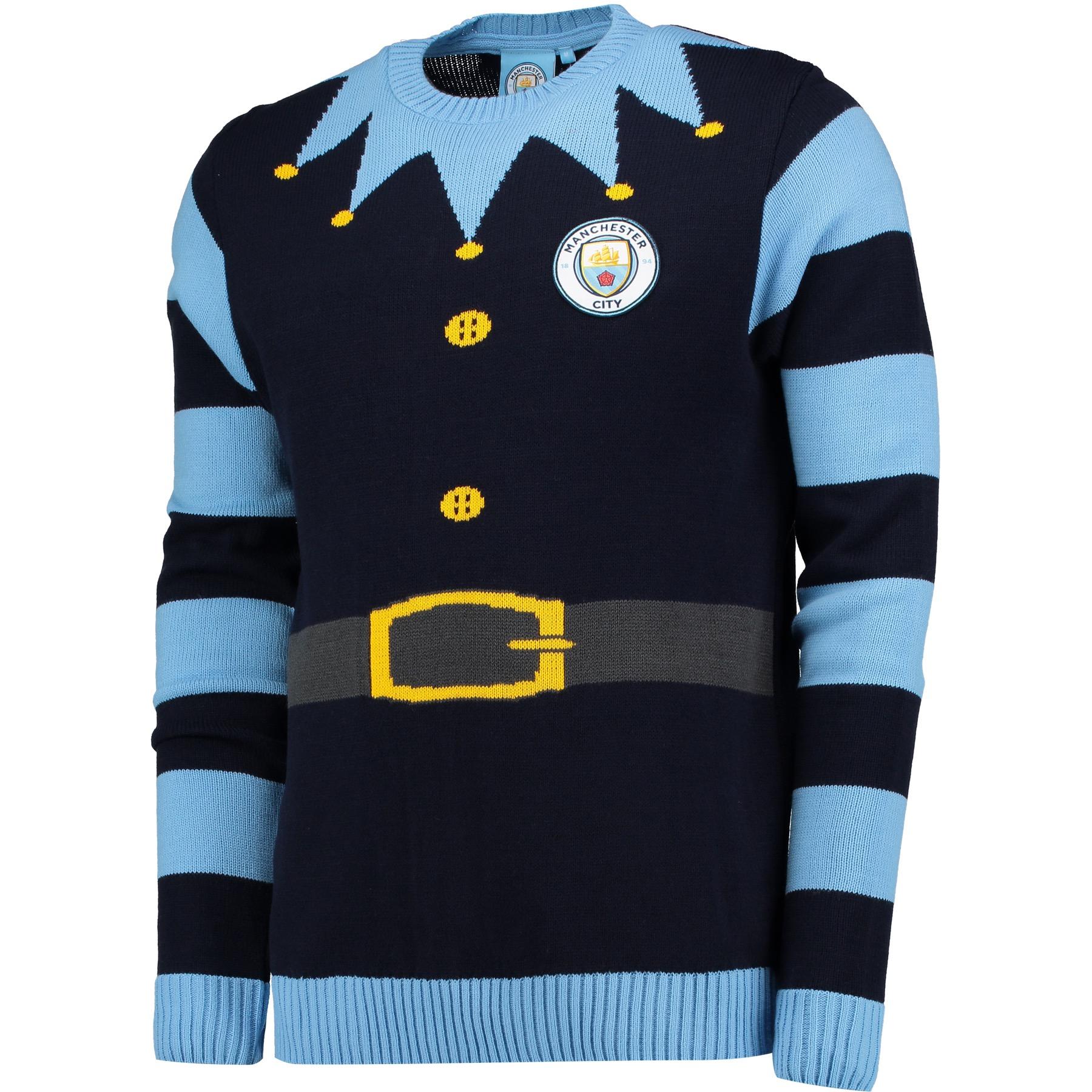 Manchester City Elf Christmas Jumper - Navy