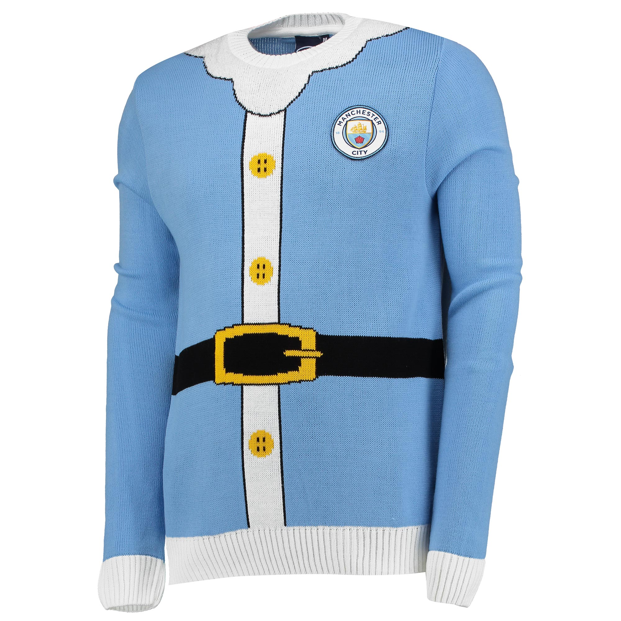 Manchester City Santa Christmas Jumper - Sky