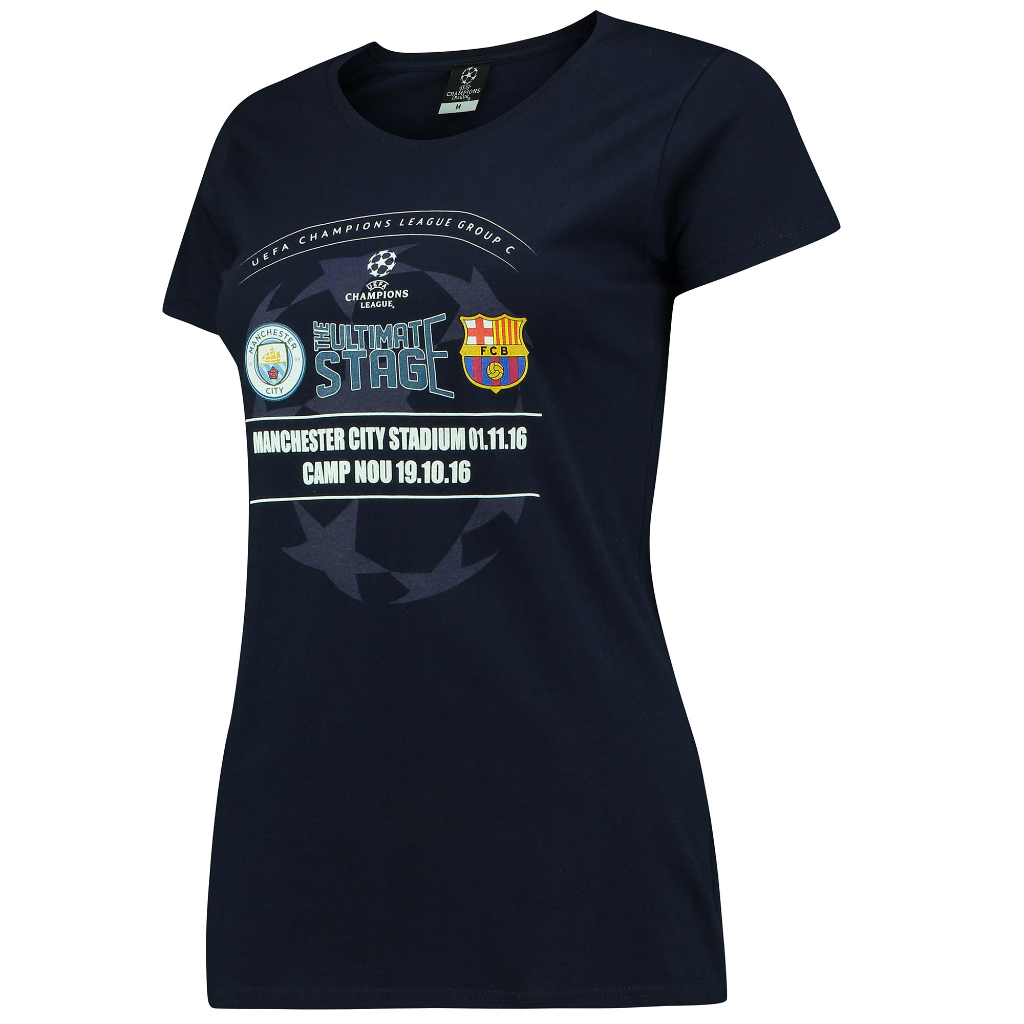 Manchester City vs Barcelona T-Shirt - Navy - Womens