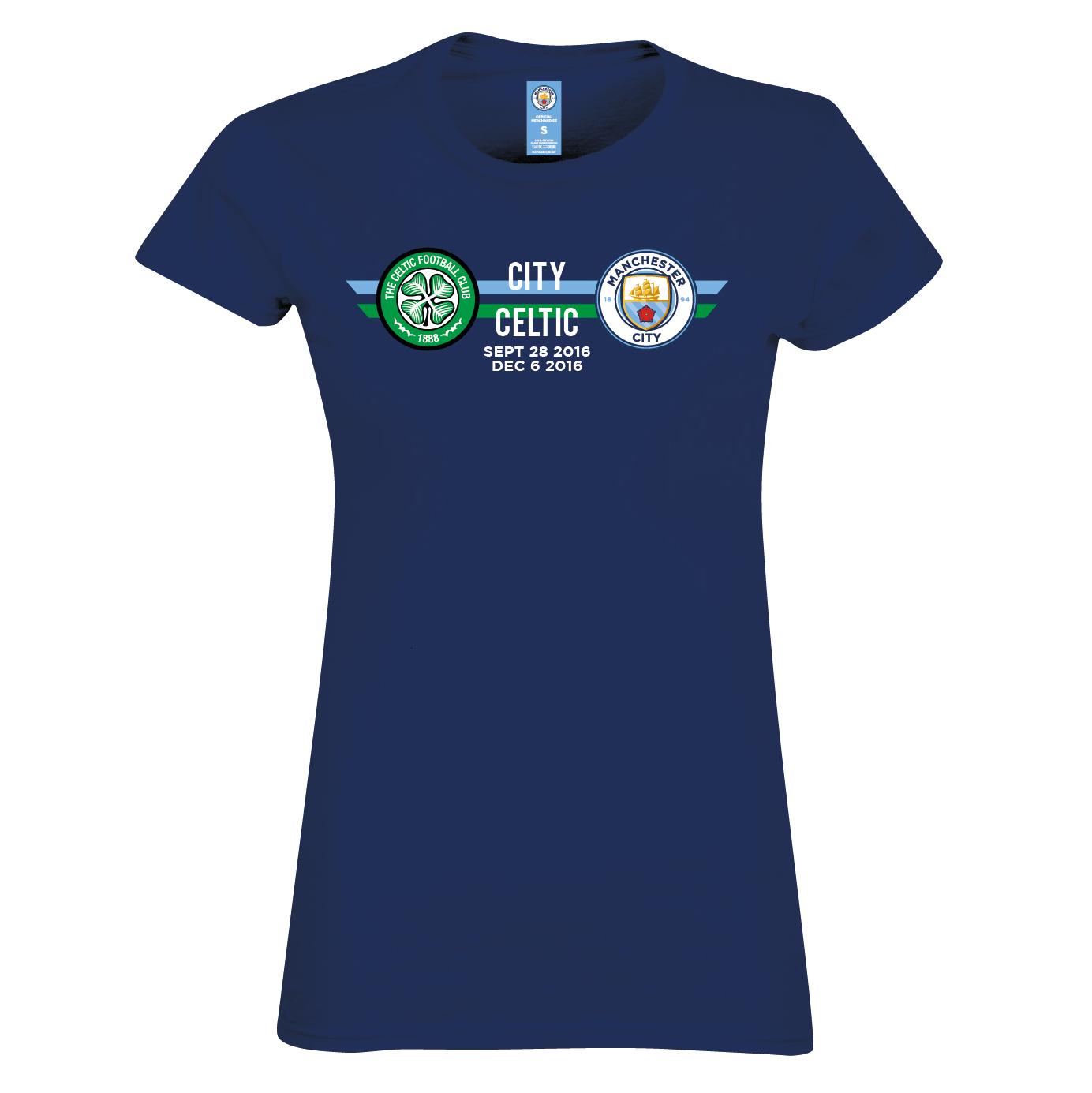 Manchester City vs Celtic T-Shirt - Navy - Womens