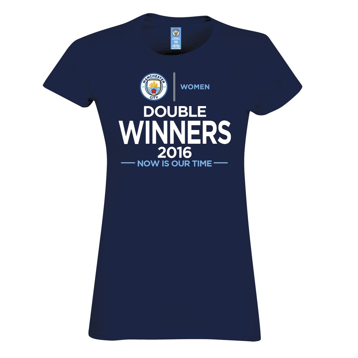 Manchester City Women Double Winners T-Shirt- Womens