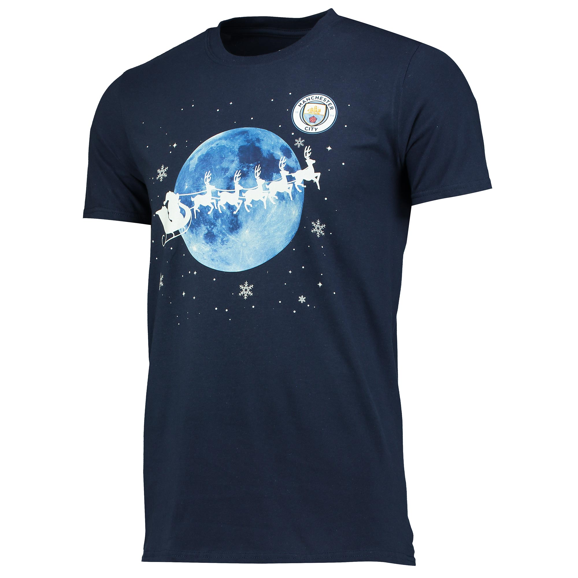 Manchester City Christmas Blue Moon T-Shirt - Navy - Junior