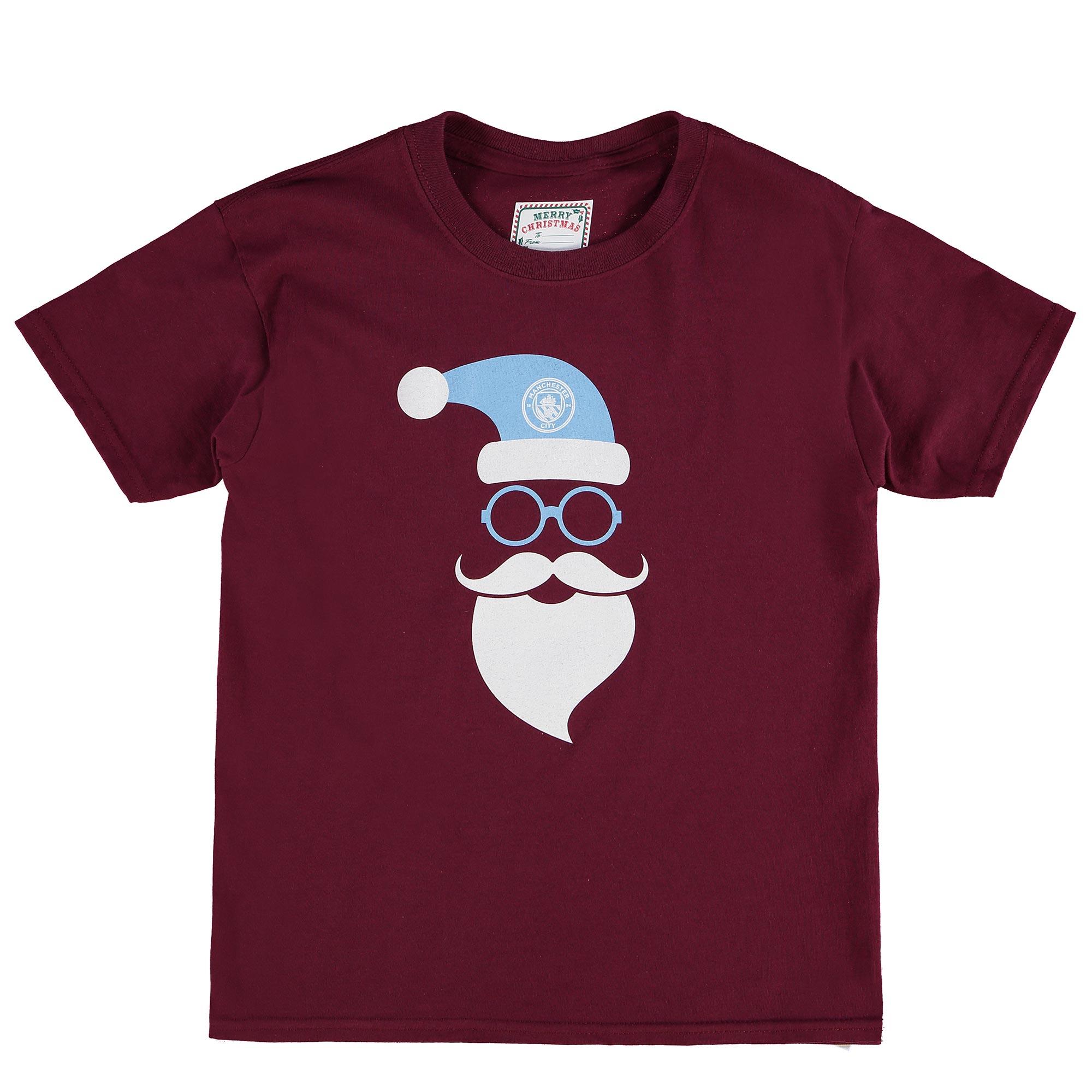 Manchester City Christmas Santa T-Shirt - Maroon - Junior