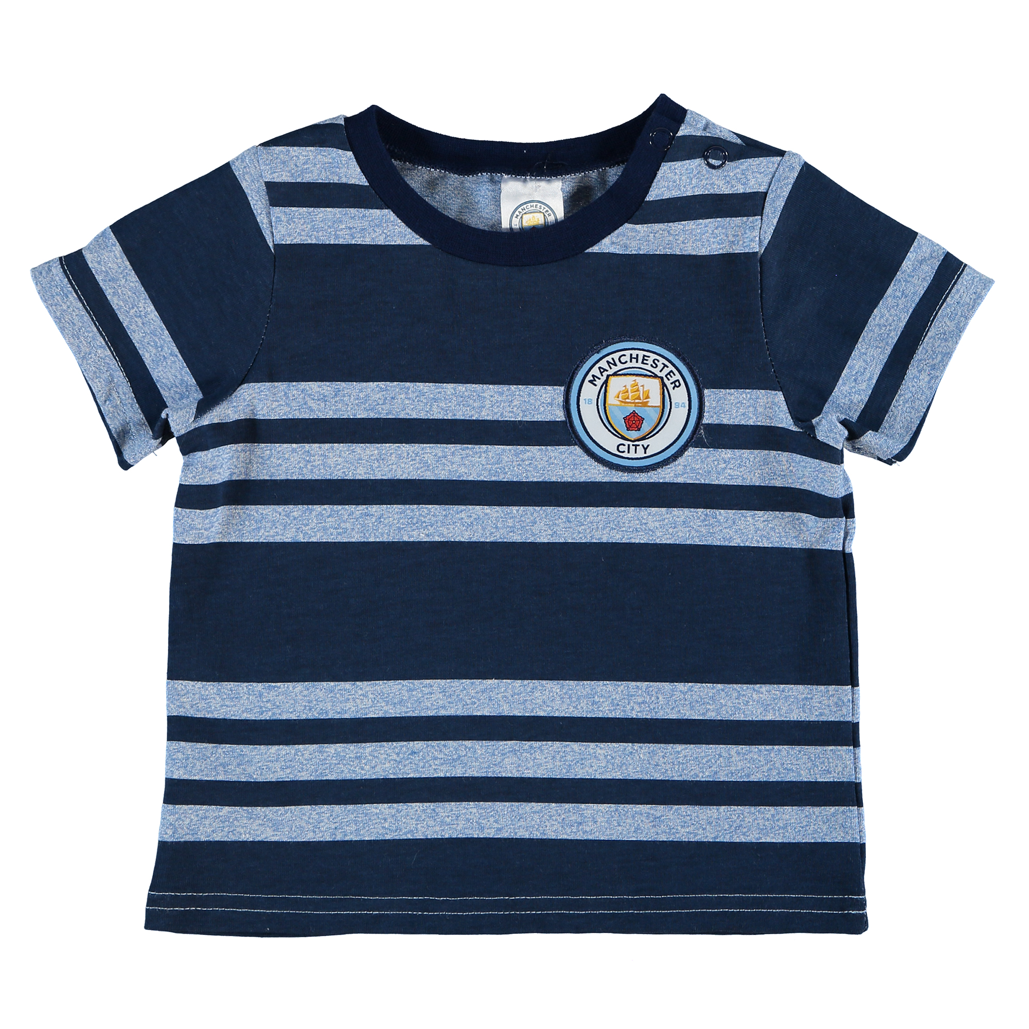Manchester City Crest Stripe T-Shirt - Navy - Baby