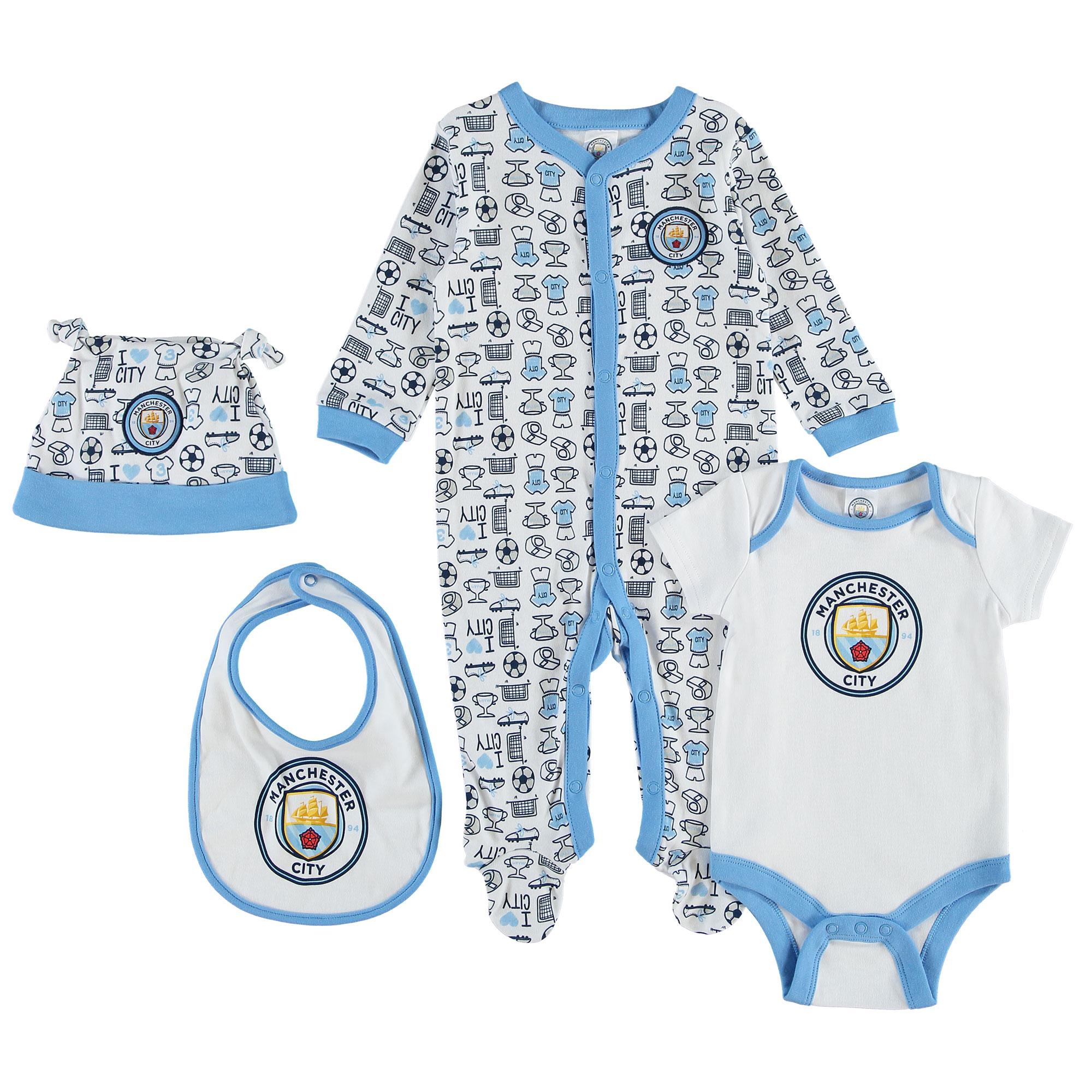 Manchester City 4 Piece Set - Sky/White - Baby