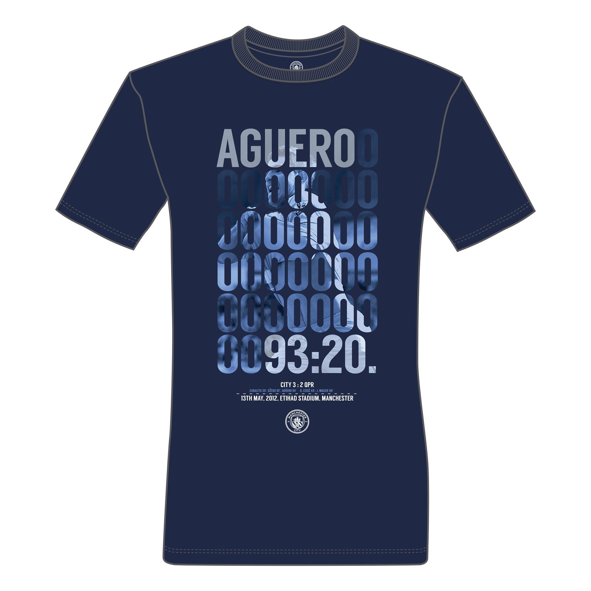 Manchester City Aguero Goal T-Shirt - Navy - Mens