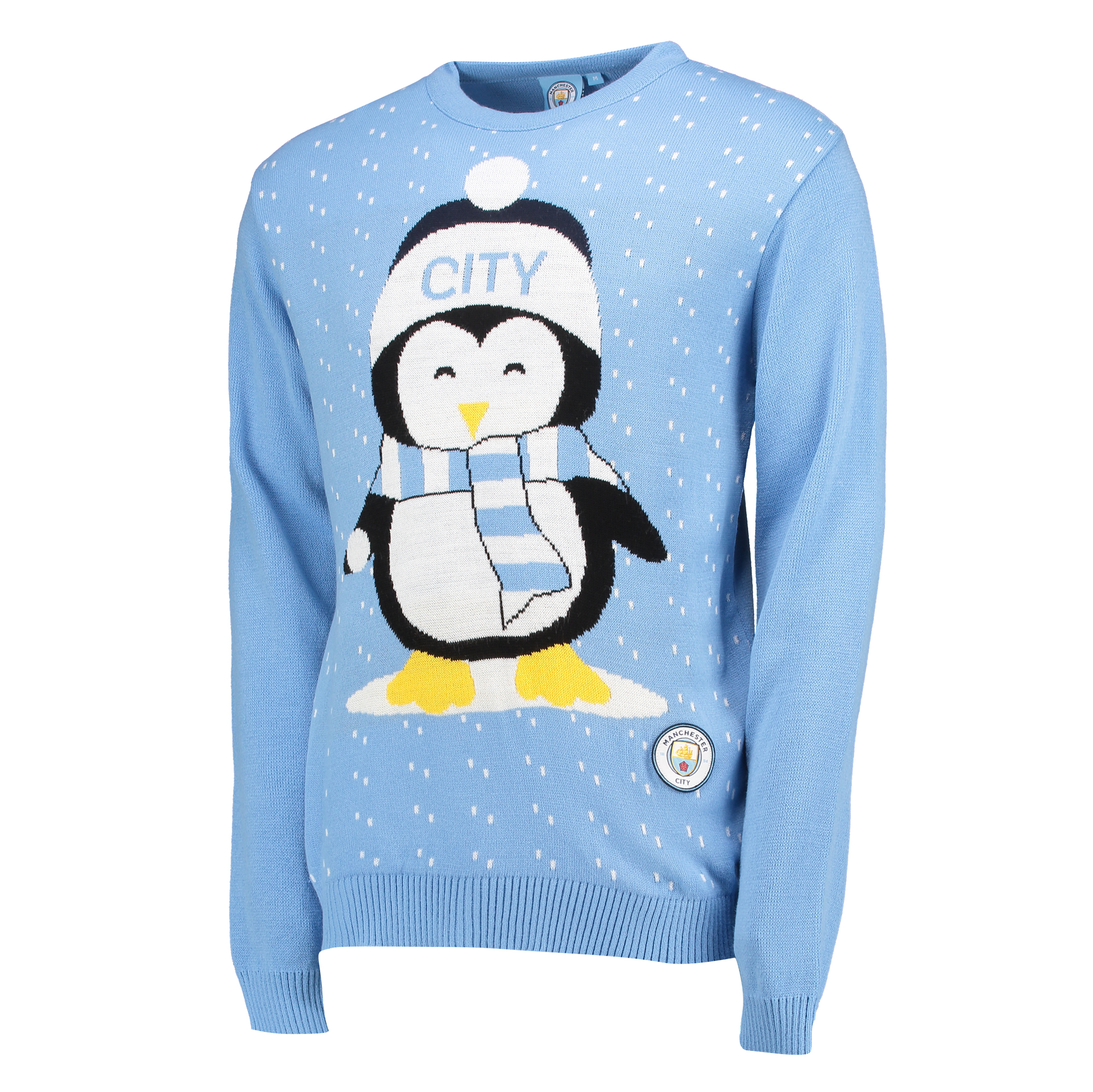 Manchester City Penguin Christmas Jumper - Sky Blue - Junior