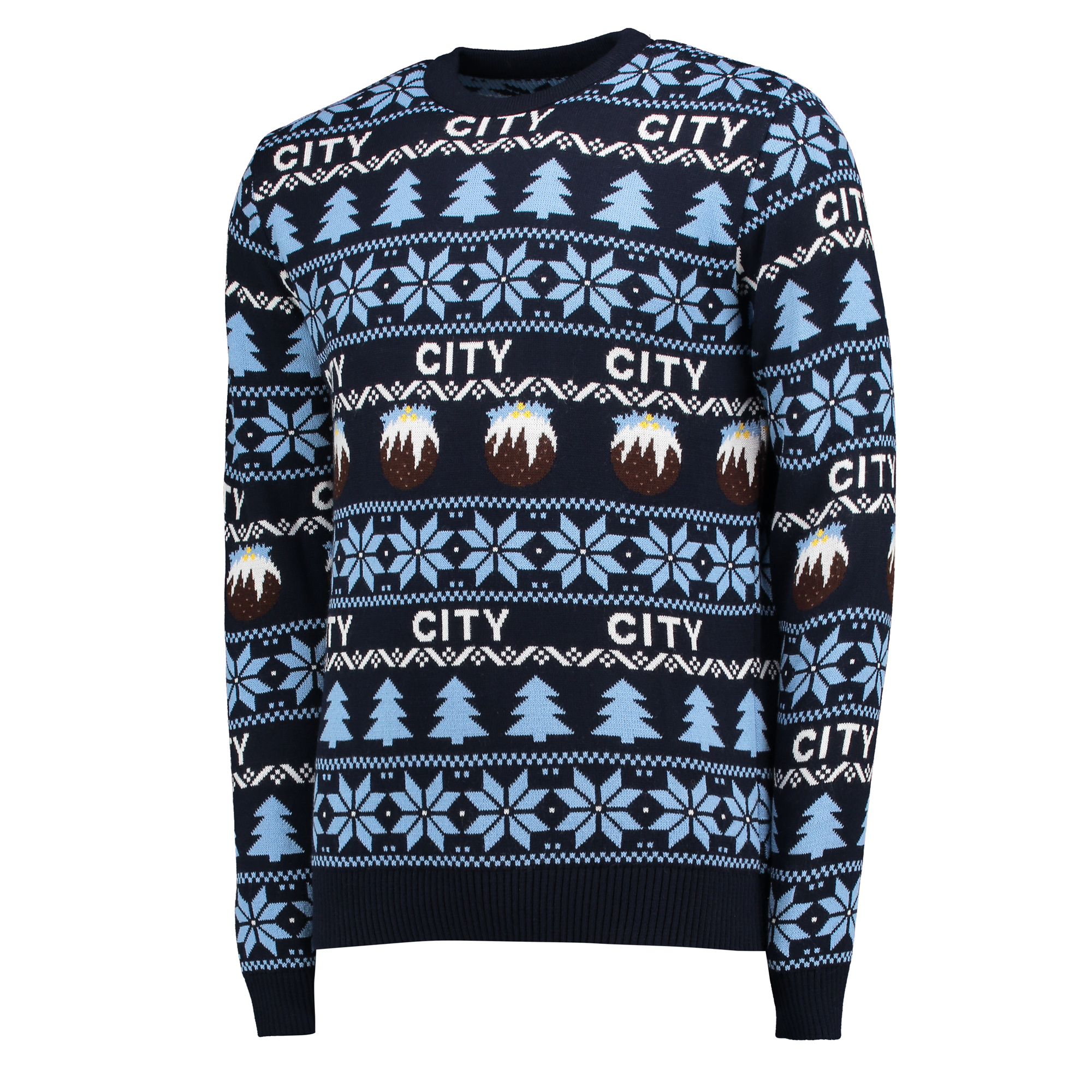 Manchester City Fairisle Christmas Jumper - Navy - Junior