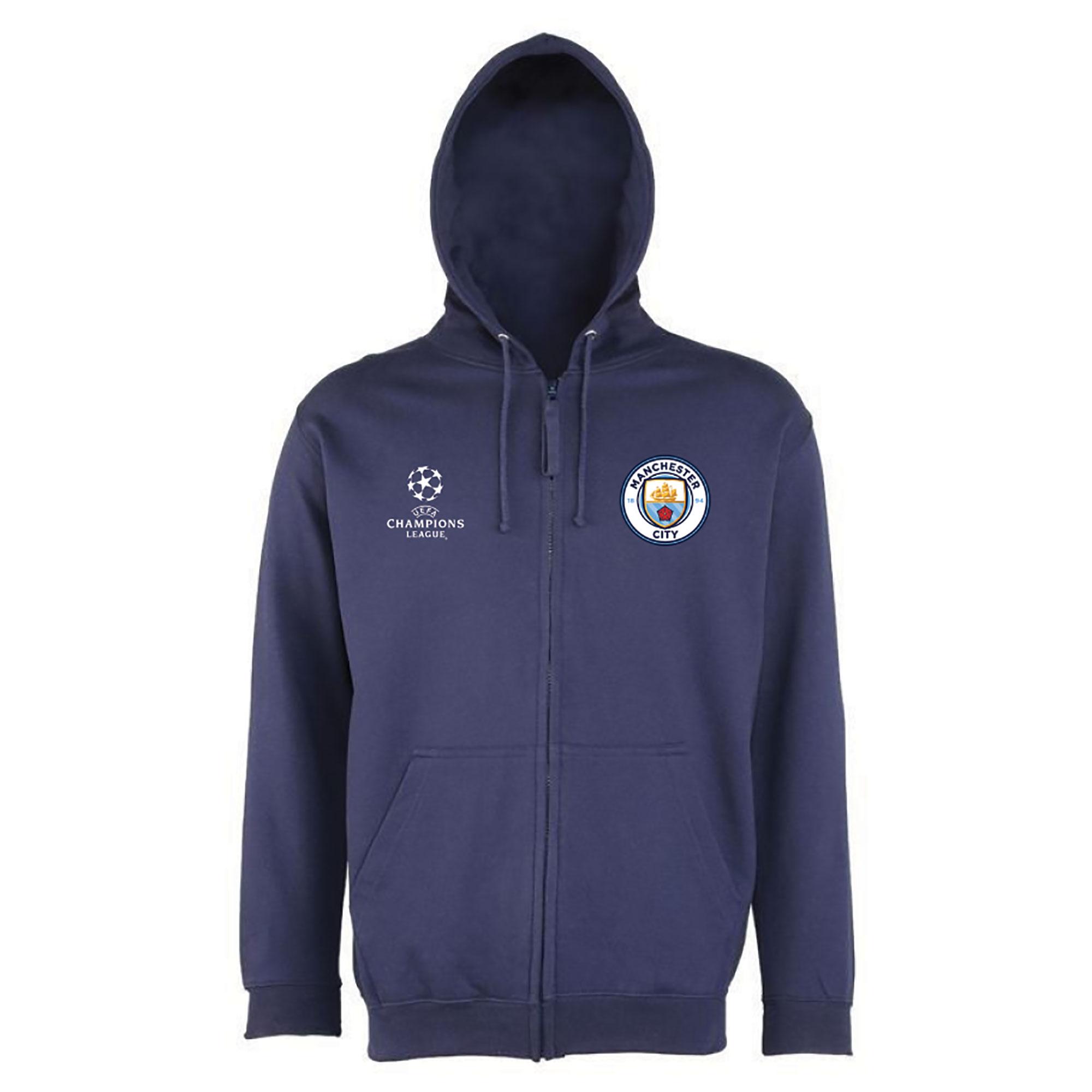 Manchester City UEFA Champions League Zip Hoodie - Navy - Mens
