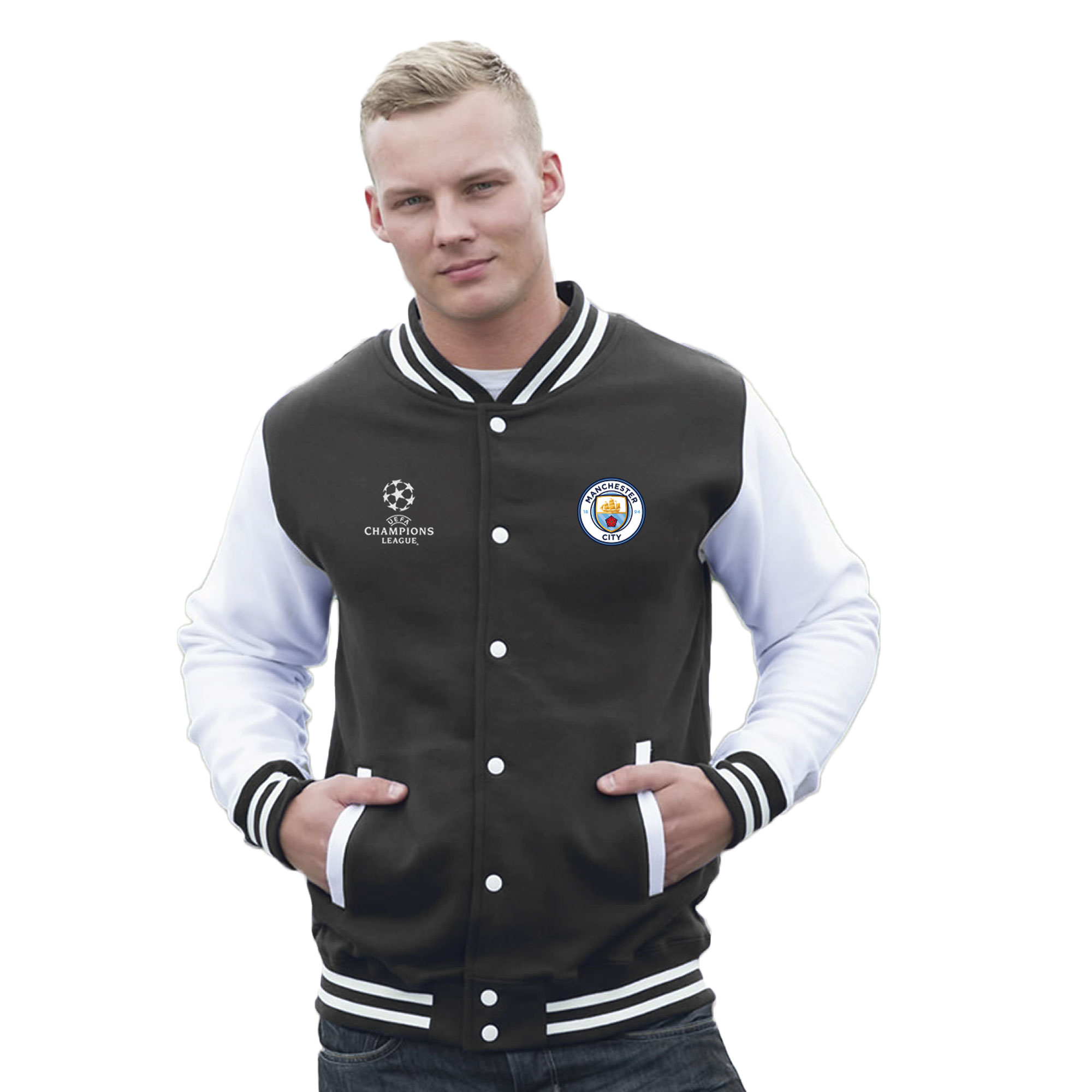 Manchester City UEFA Champions League Varsity Jacket - Black - Mens