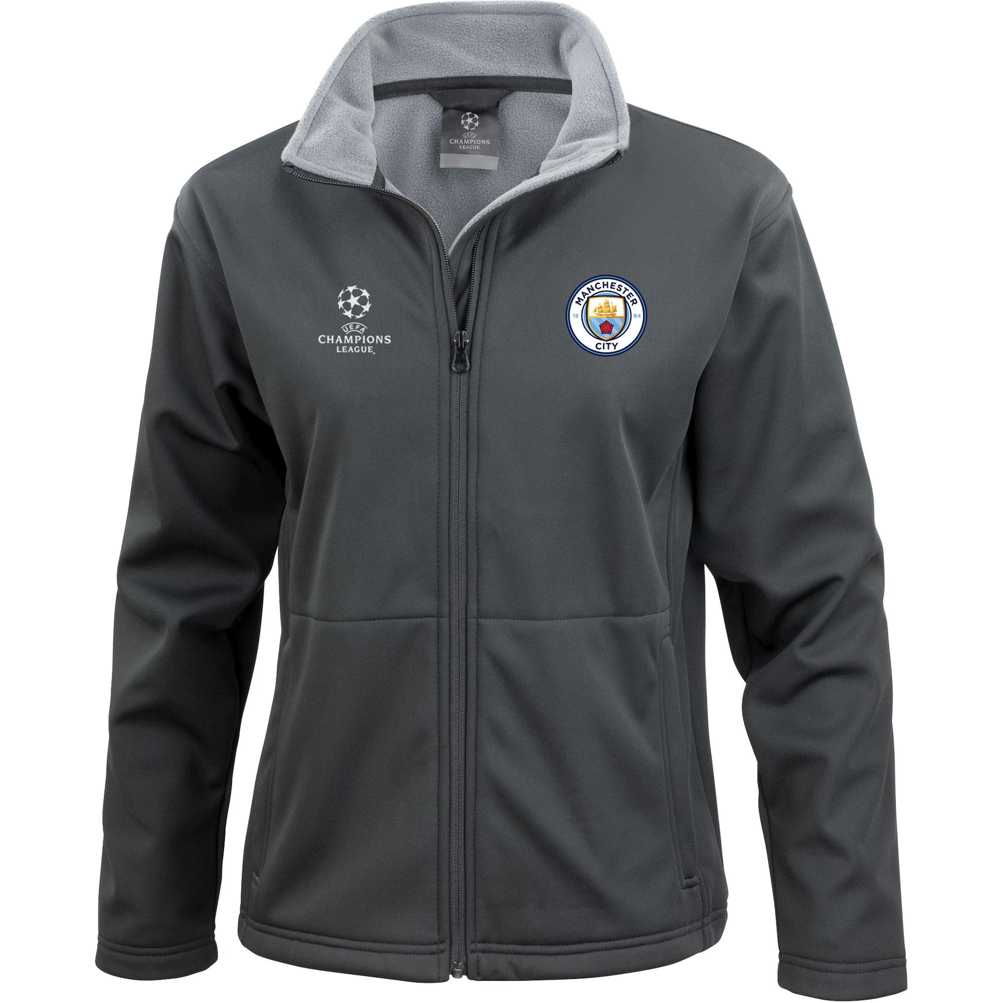Manchester City UEFA Champions League Logo Softshell Jacket - Black -