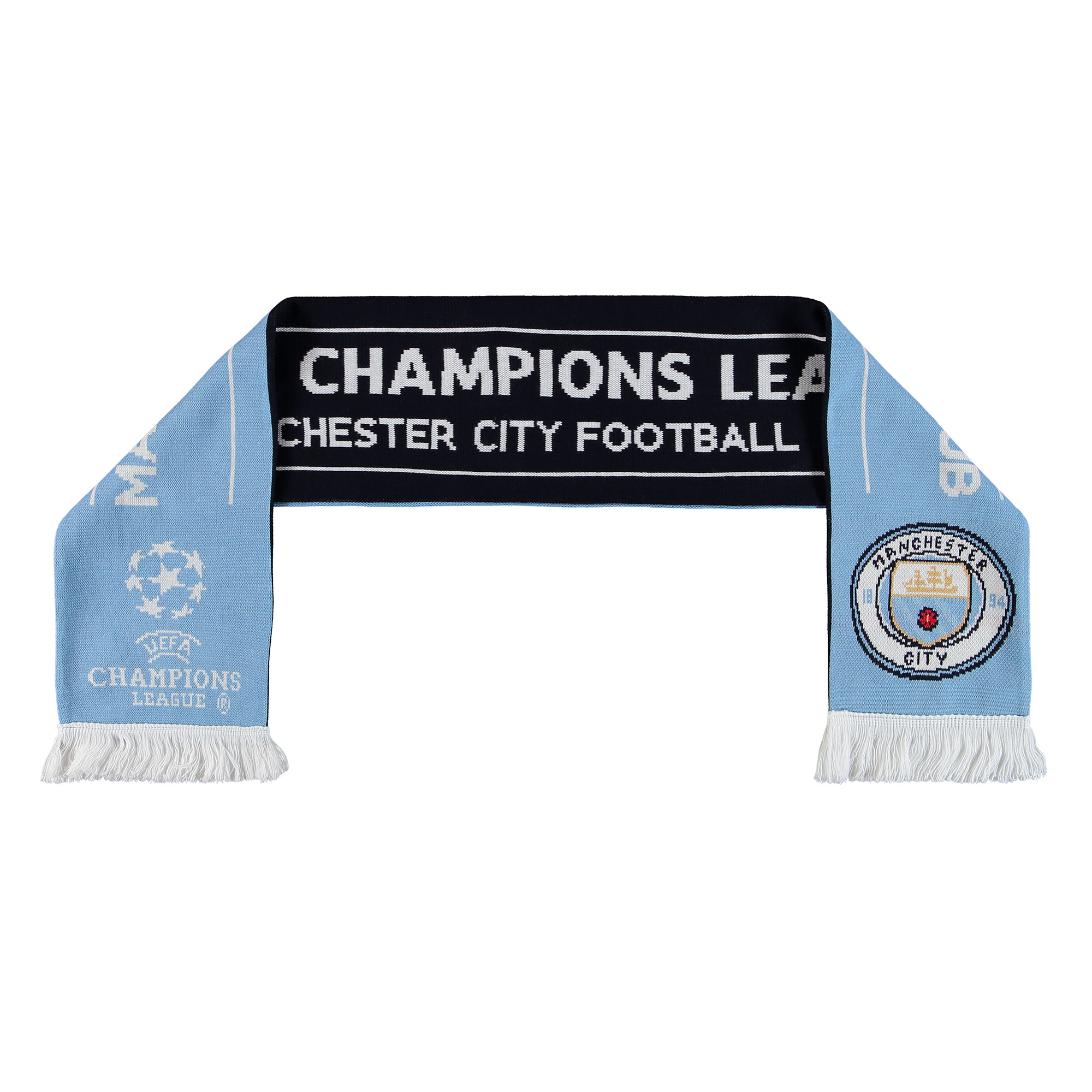 Manchester City UEFA Champions League Jaquard Scarf - Sky/Black - Adul