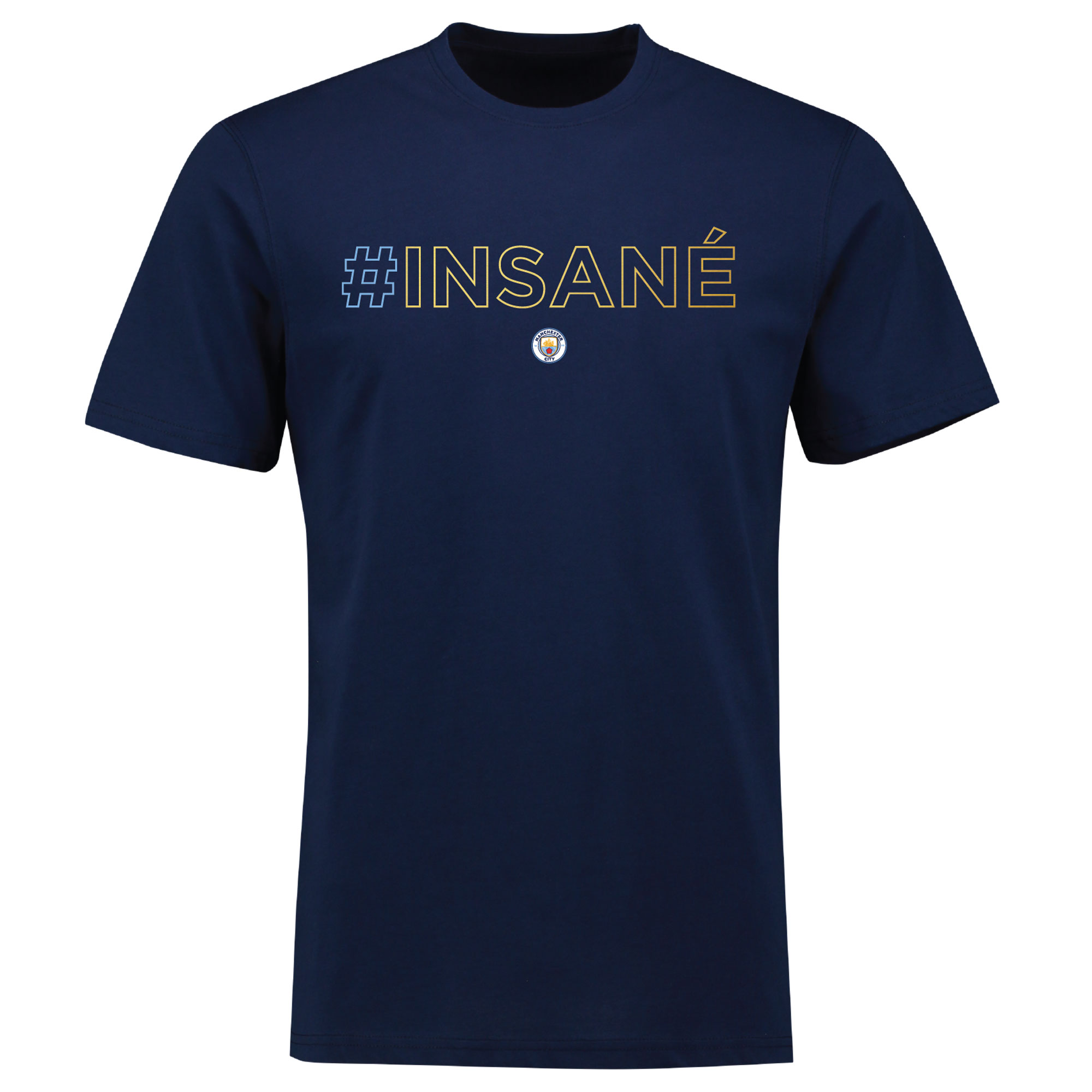 Manchester City Leroy Sane INSANE Hashtag T Shirt - Kids - Navy